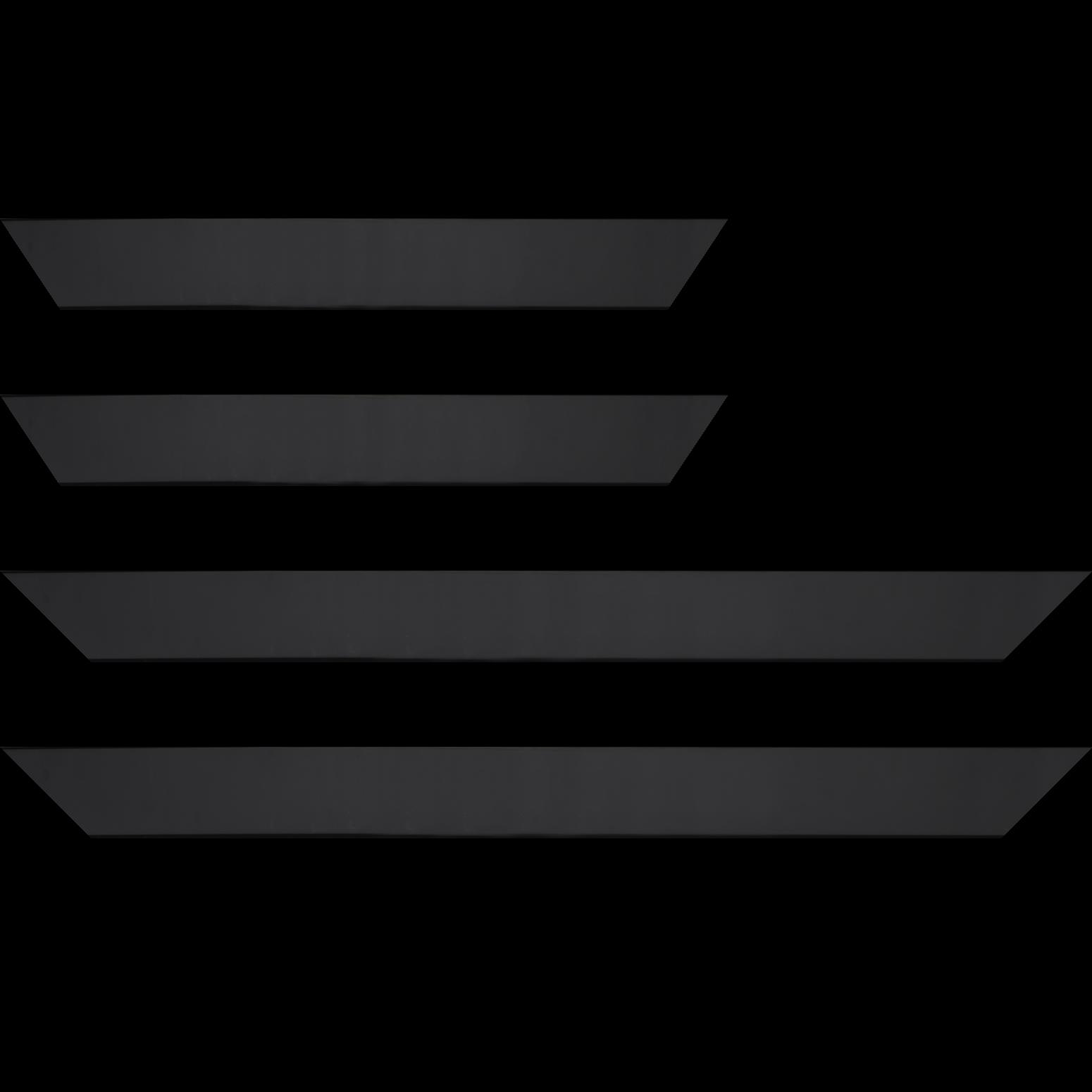 Baguette service précoupé bois profil plat largeur 4.1cm couleur noir mat finition pore bouché