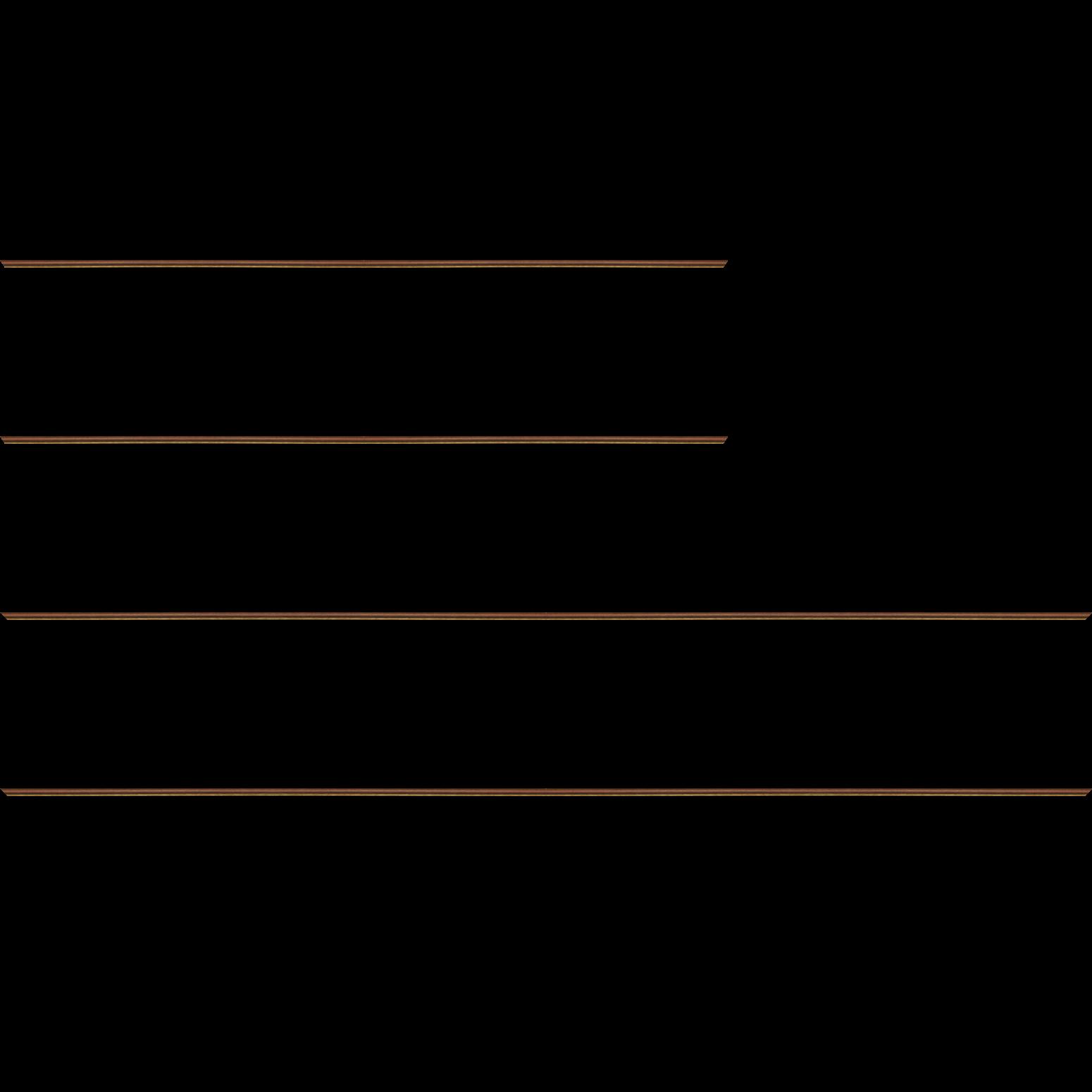 Baguette service précoupé bois profil arrondi largeur 2.4cm couleur marron rustique filet or