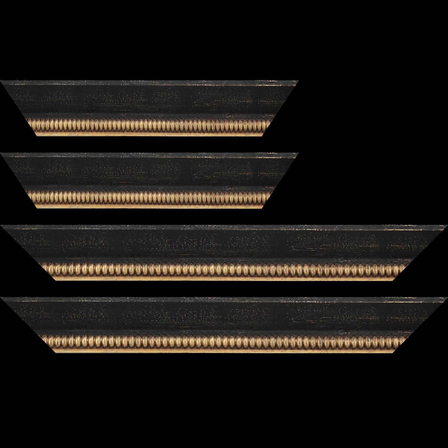 Baguette service précoupé Bois profil en pente largeur 5.9cm noir antique filet boule à la feuille style