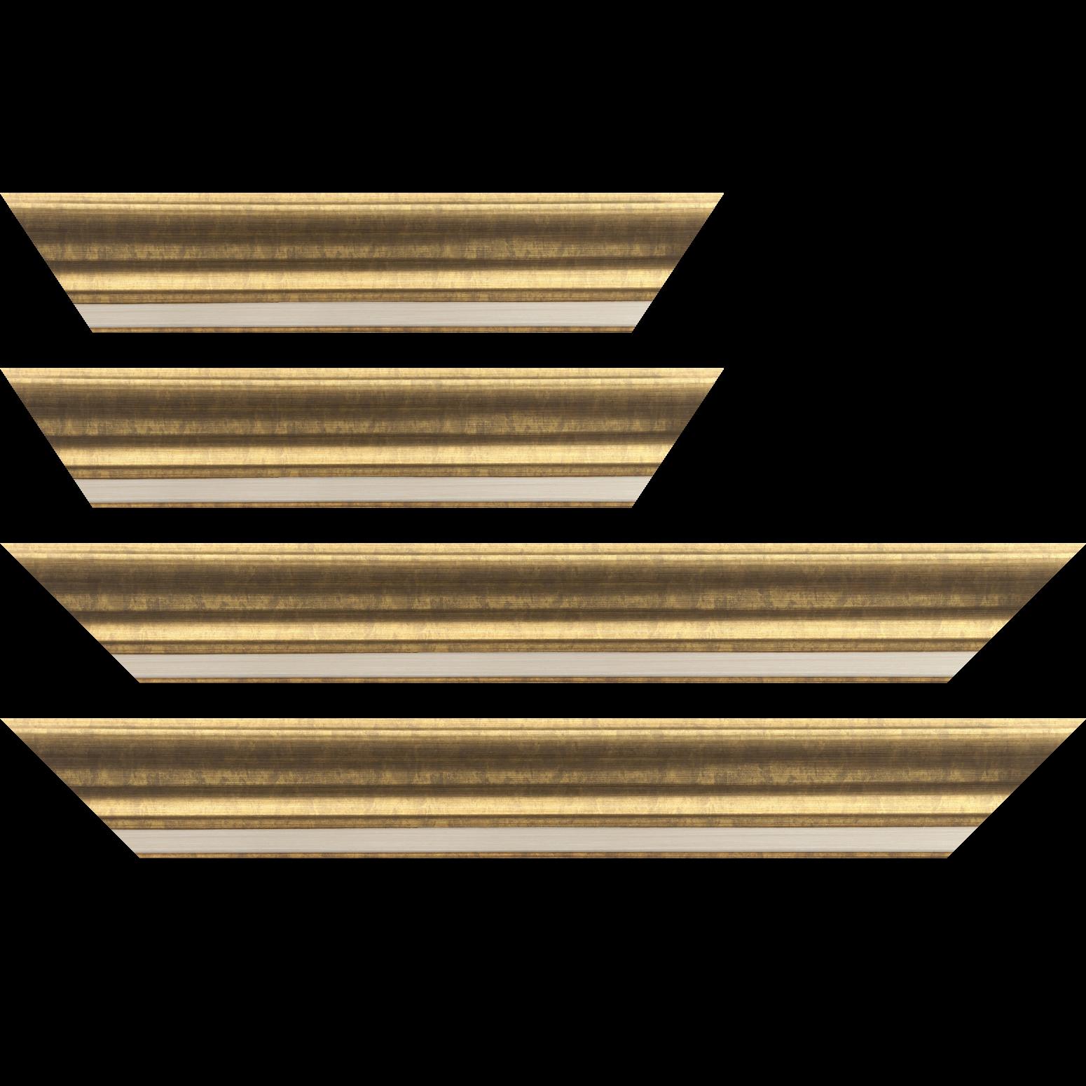 Baguette service précoupé Bois profil incurvé largeur 6.3cm couleur or marie louise intégrée
