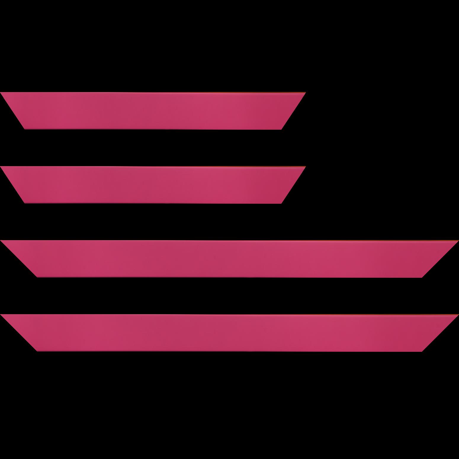 Baguette service précoupé bois profil plat largeur 3.9cm couleur rose fushia mat