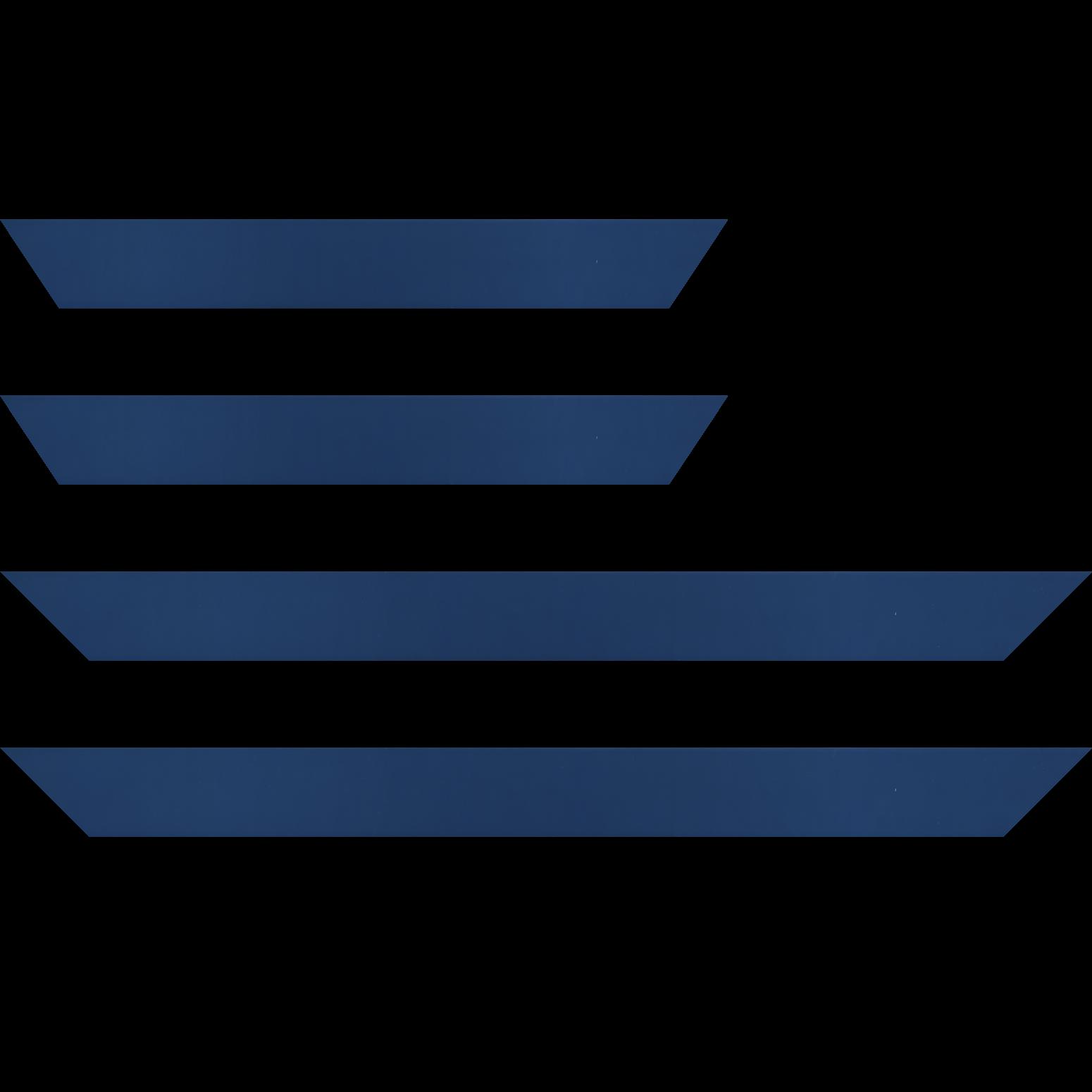 Baguette service précoupé bois profil plat largeur 3.9cm couleur bleu grec mat