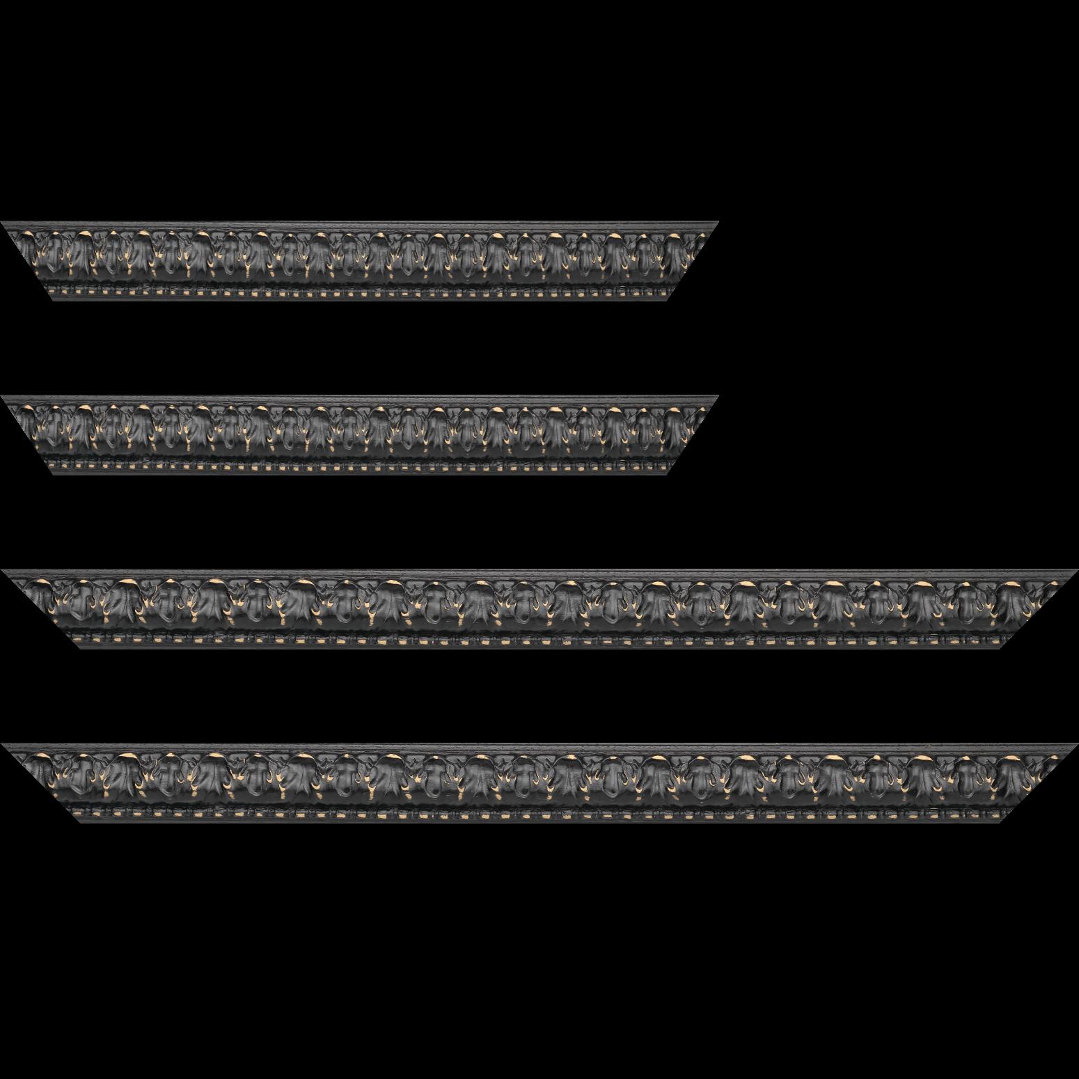 Baguette service précoupé bois profil bombé largeur 4cm couleur noir satiné usé