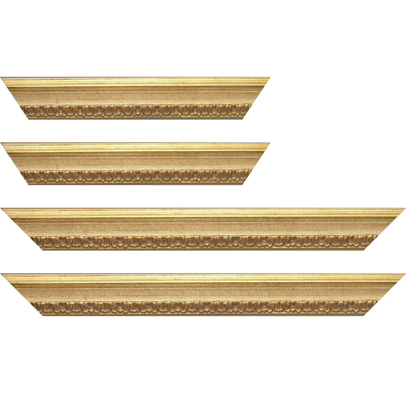 Baguette service précoupé bois profil incurvé largeur 5.1cm couleur or patiné à la feuille gorge crème fond or nez ornement