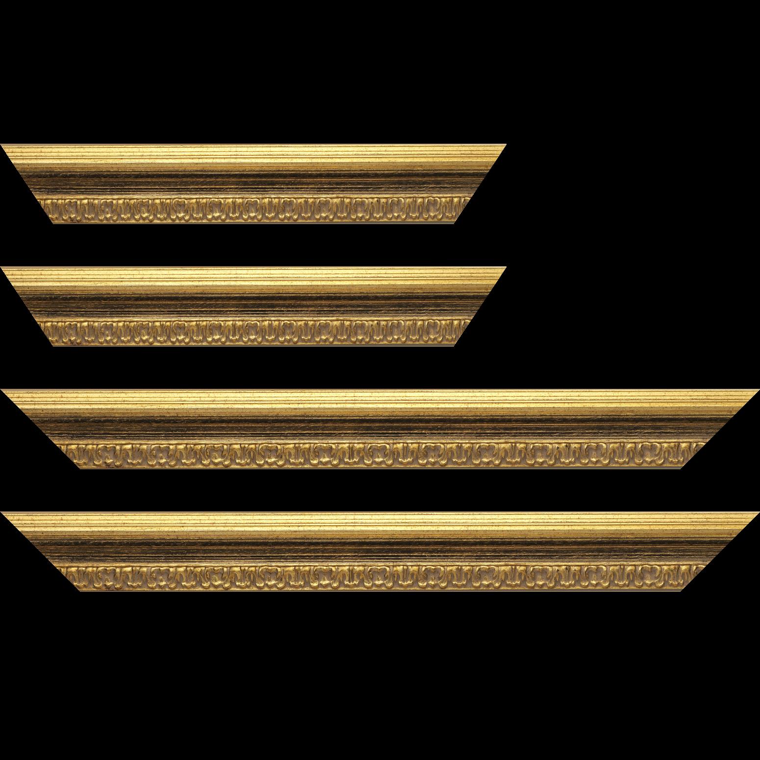 Baguette service précoupé bois profil incurvé largeur 5.1cm couleur or patiné à la feuille gorge noire fond or nez ornement