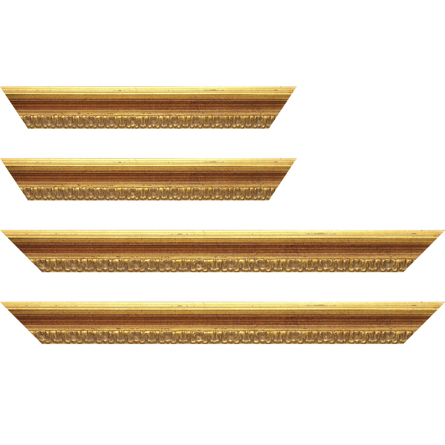 Baguette service précoupé bois profil incurvé largeur 5.1cm couleur or patiné à la feuille gorge bordeaux fond or nez ornement