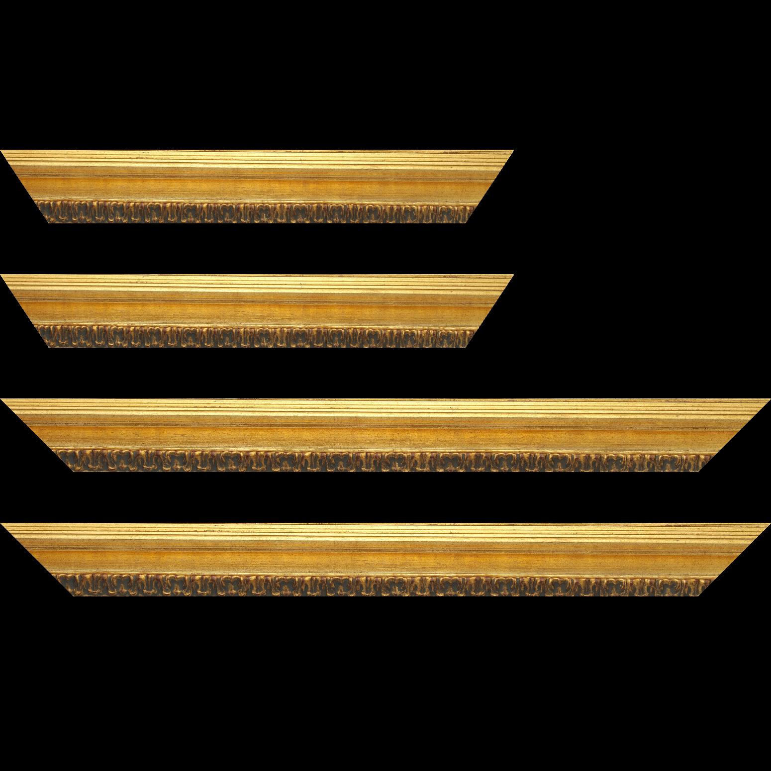 Baguette service précoupé bois profil incurvé largeur 5.1cm couleur or patiné à la feuille gorge or nez ornement