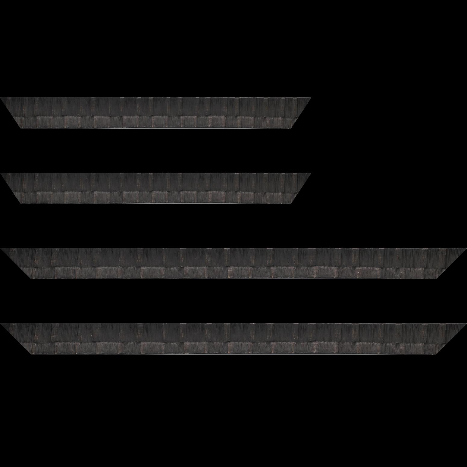 Baguette service précoupé bois profil incurvé largeur 3cm  couleur noir ébène finition ethnique