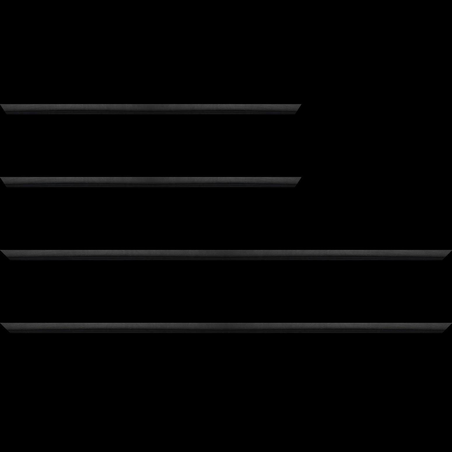 Baguette service précoupé bois profil bombé largeur 2.4cm couleur noir satiné