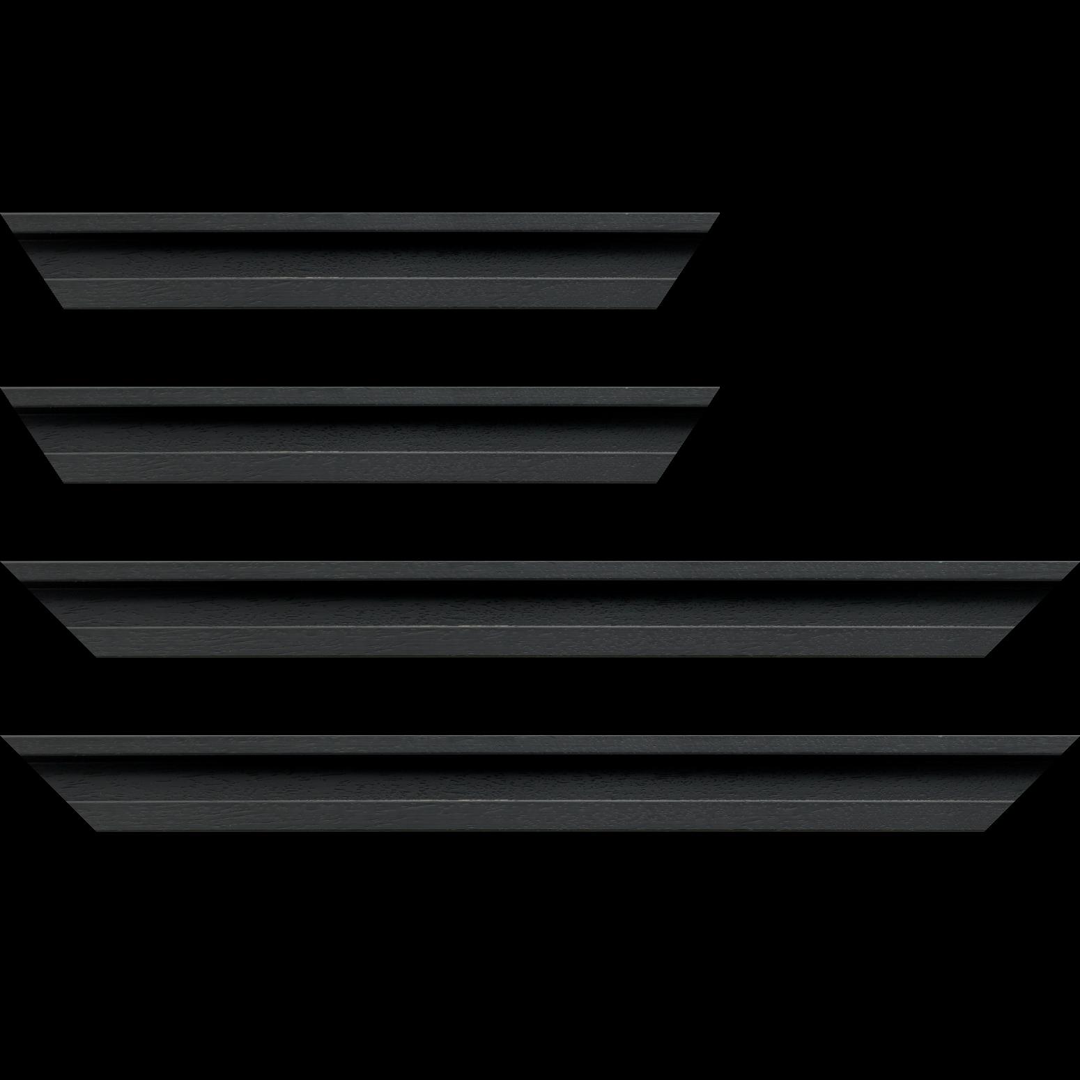 Baguette service précoupé Bois caisse américaine largeur 4.5cm noir satiné (spécialement conçu pour les supports rigides ne nécessitant pas de protection plexi ou autre :  aluminium, dibon , pvc etc...le sujet se  colle sur le nez de feuillure du cadre ) profil en U