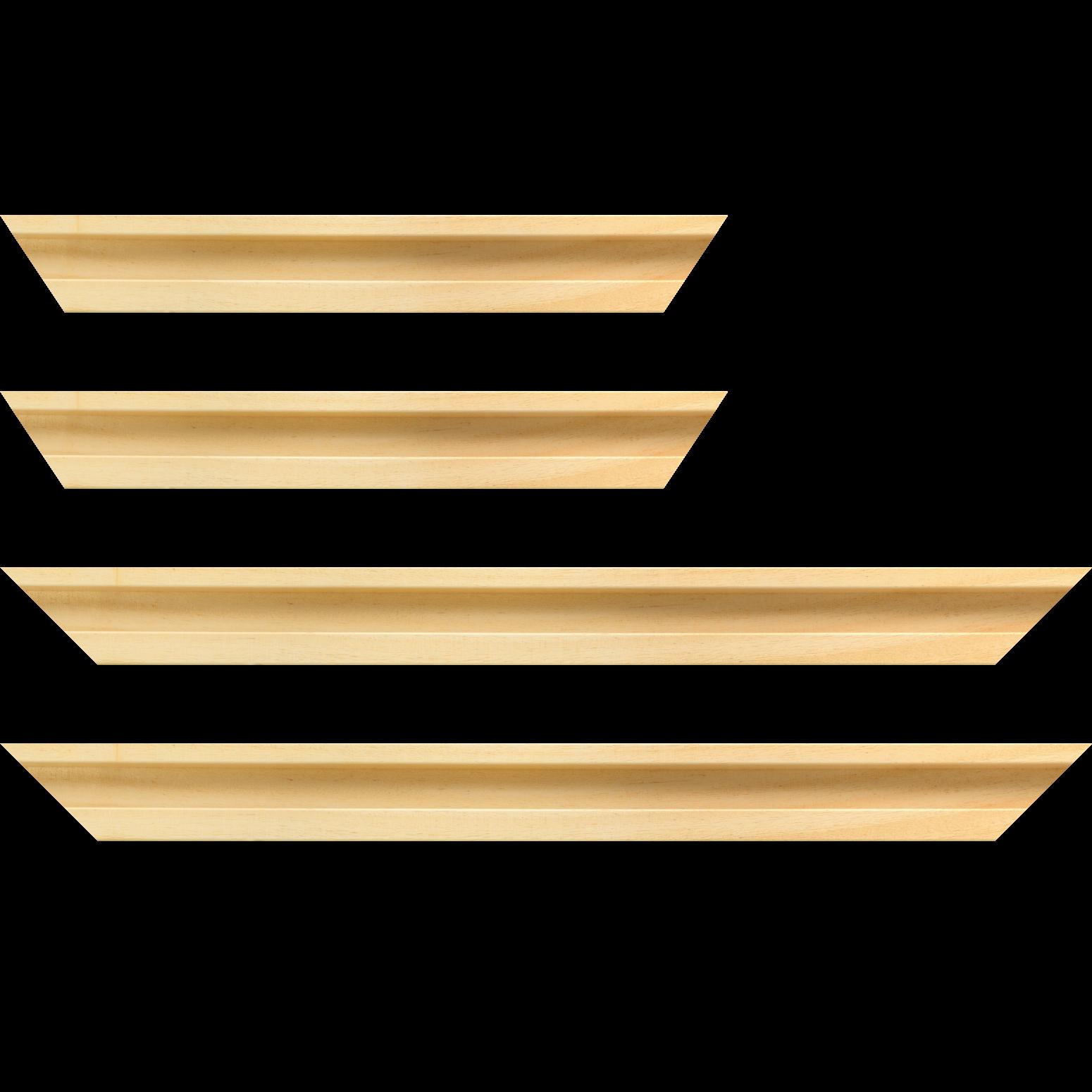 Baguette service précoupé Bois caisse américaine largeur 4.5cm naturel satiné  (spécialement conçu pour les supports rigides ne nécessitant pas de protection plexi ou autre : aluminium, dibon , pvc etc...le sujet se  colle sur le nez de feuillure du cadre ) profil en U