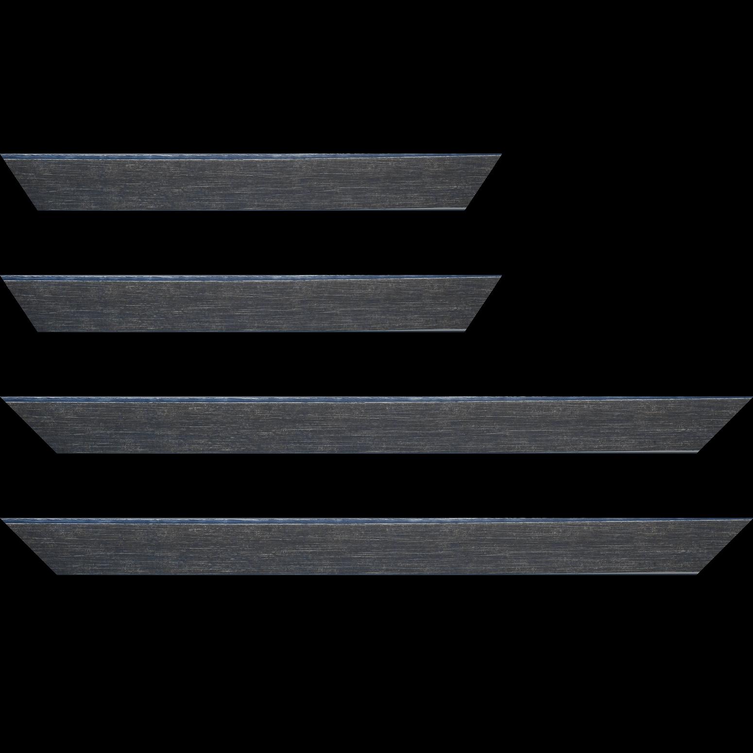 Baguette service précoupé bois profil plat incliné largeur 3.7cm couleur bleu pétrole effet ressuyé