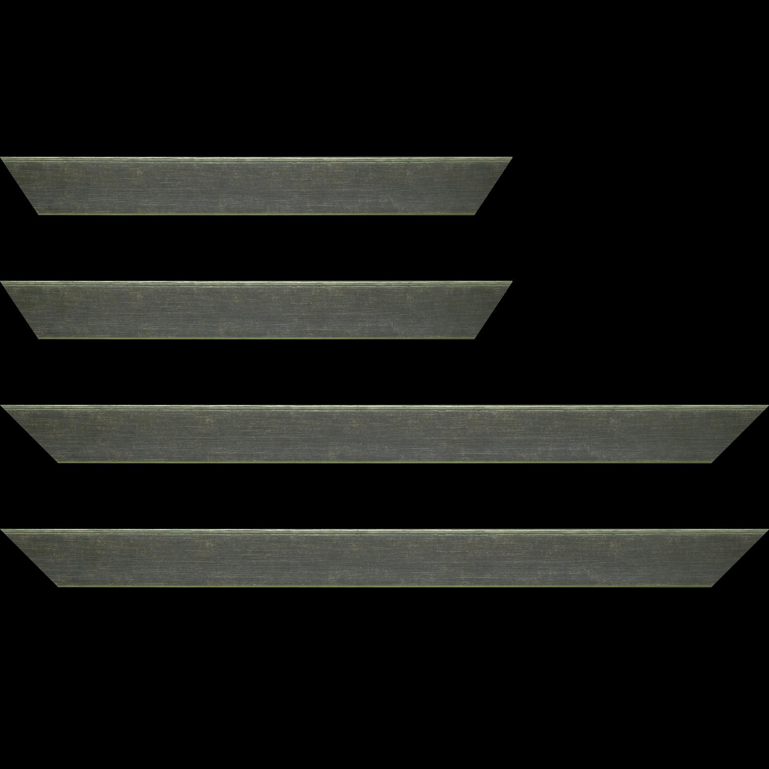 Baguette service précoupé bois profil plat incliné largeur 3.7cm couleur vert foncé effet ressuyé