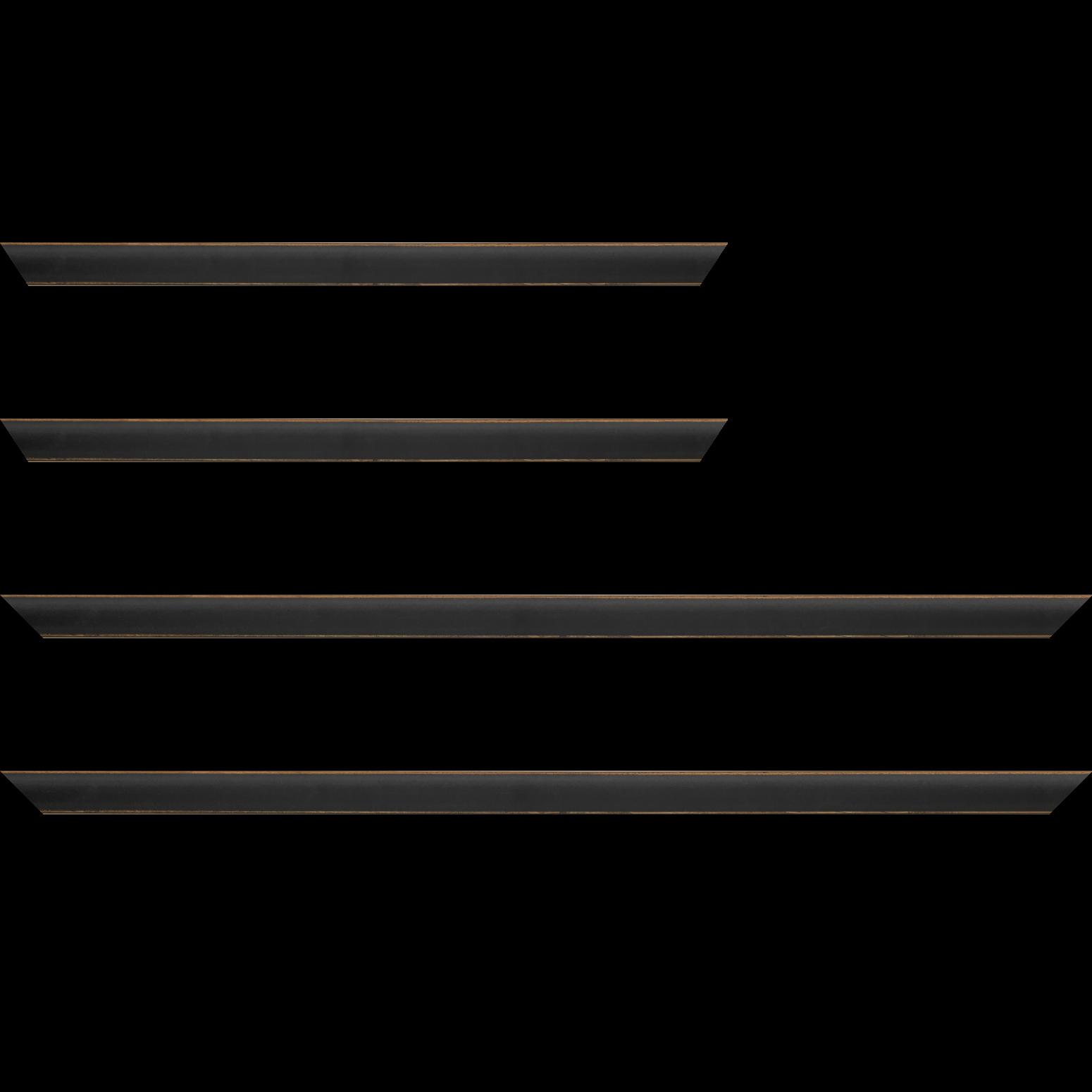 Baguette service précoupé bois profil incurvé largeur 1.9cm couleur noir mat bord ressuyé