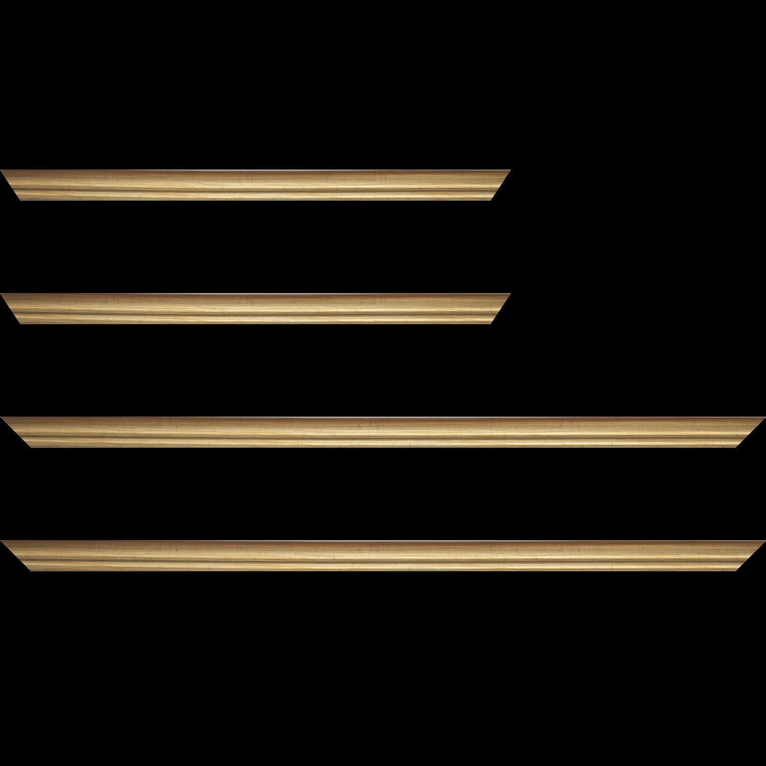 Baguette service précoupé Bois profil bombé largeur 2cm couleur or