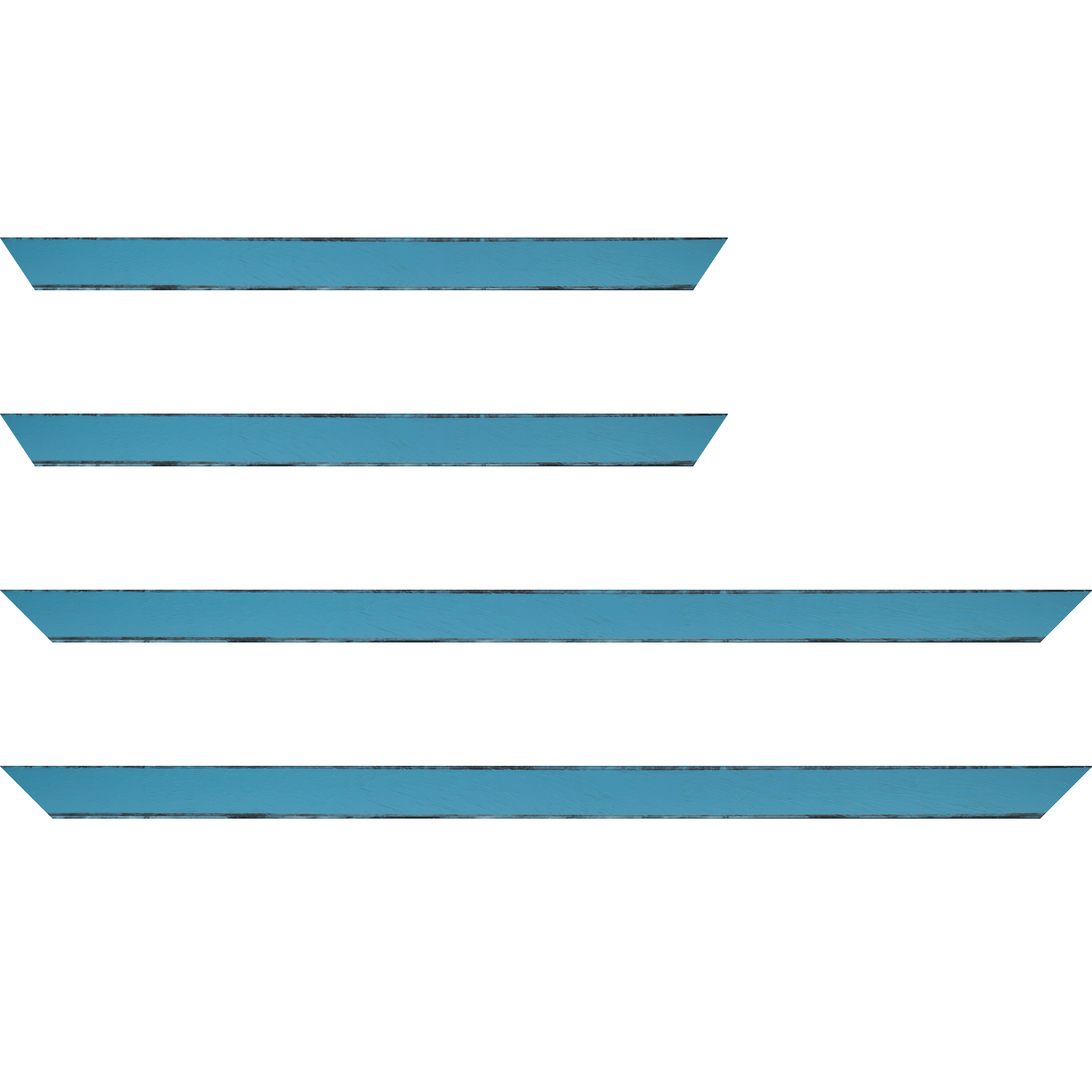 Baguette service précoupé Bois profil concave largeur 2.4cm couleur turquoise tonique  satiné  arêtes essuyés noircies de chaque coté
