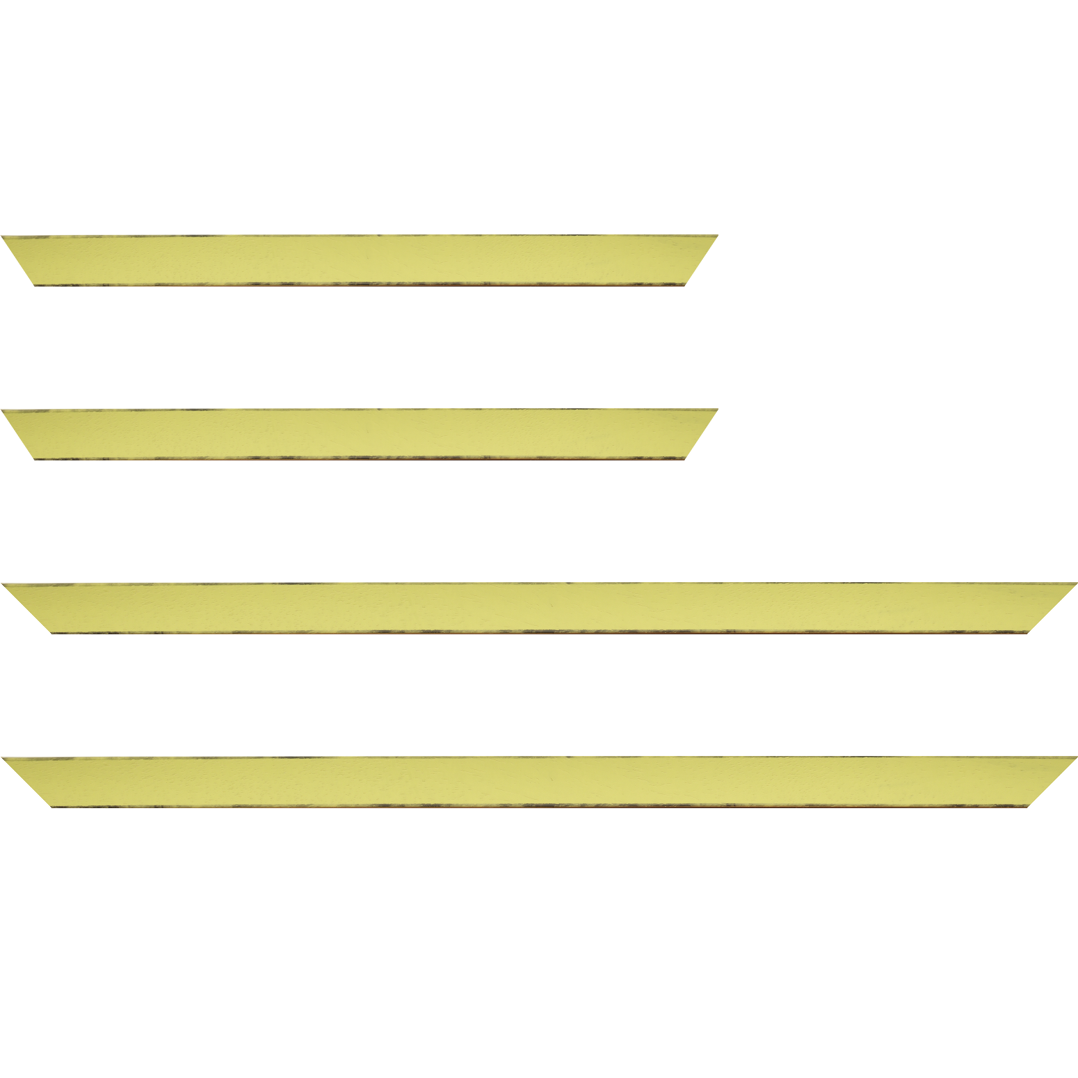 Baguette service précoupé Bois profil concave largeur 2.4cm couleur vert acidulé satiné arêtes essuyés noircies de chaque coté