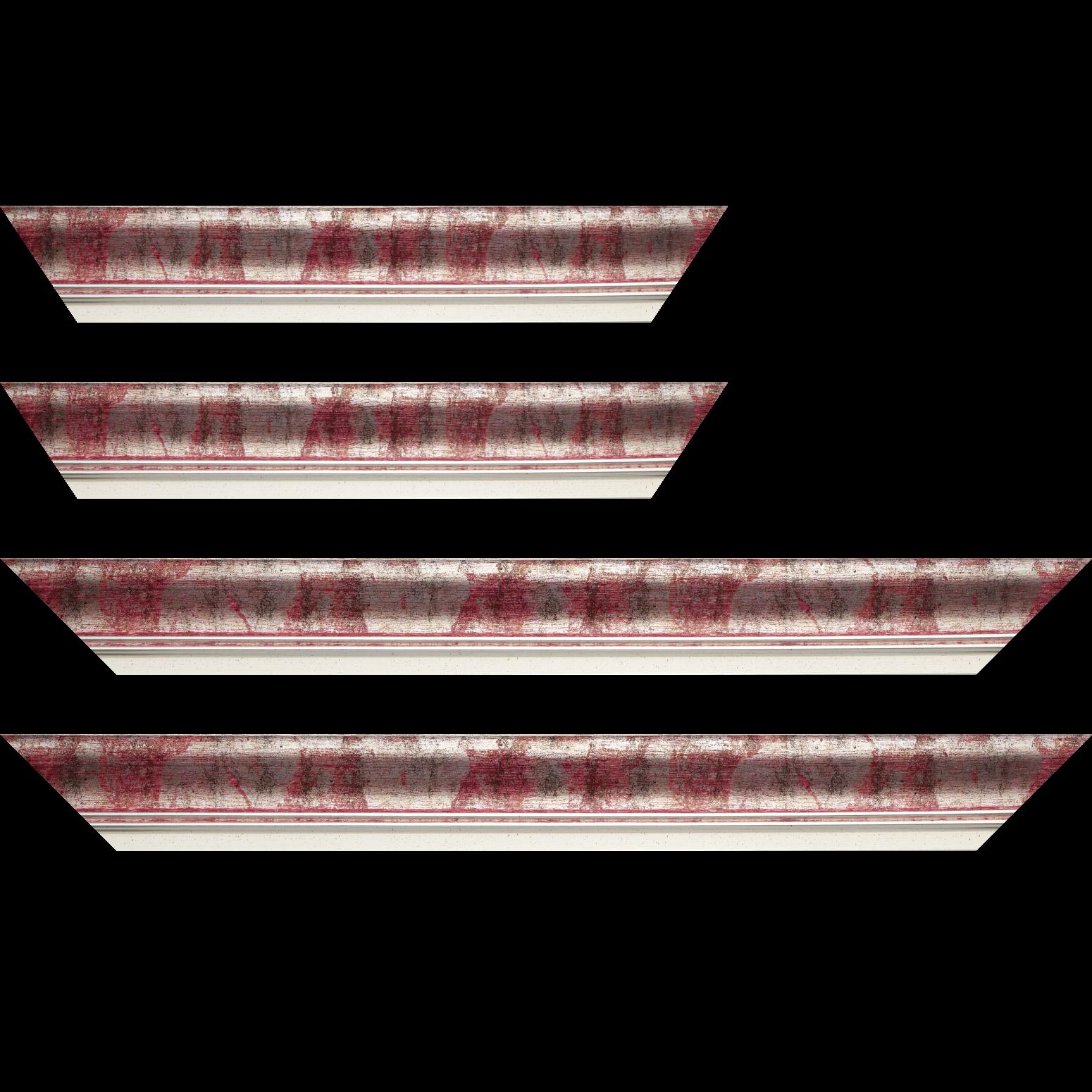 Baguette service précoupé Bois profil incurvé largeur 5.7cm de couleur rose fushia fond argent marie louise blanche mouchetée filet argent intégré