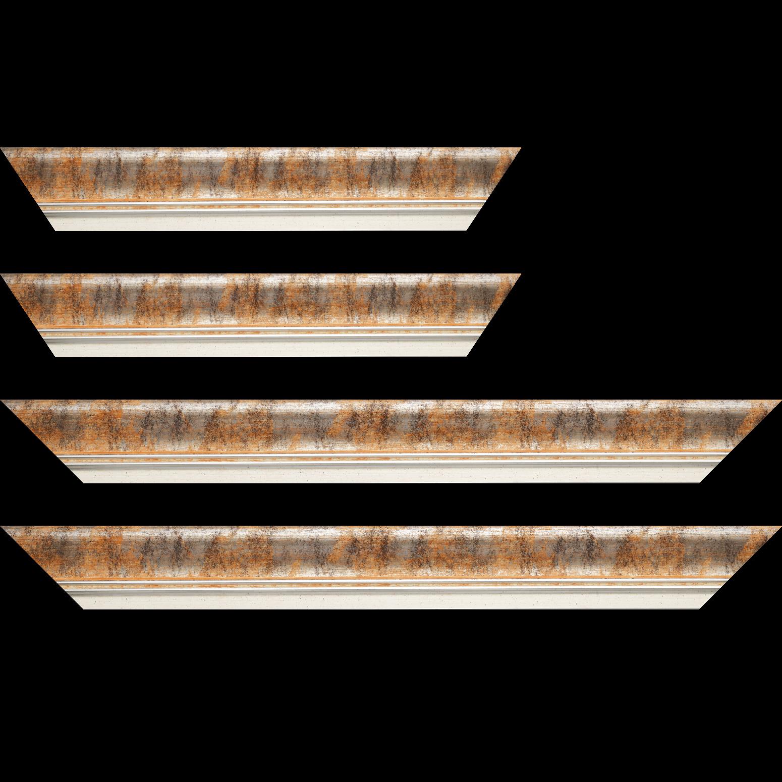 Baguette service précoupé Bois profil incurvé largeur 5.7cm de couleur orange fond argent marie louise blanche mouchetée filet argent intégré