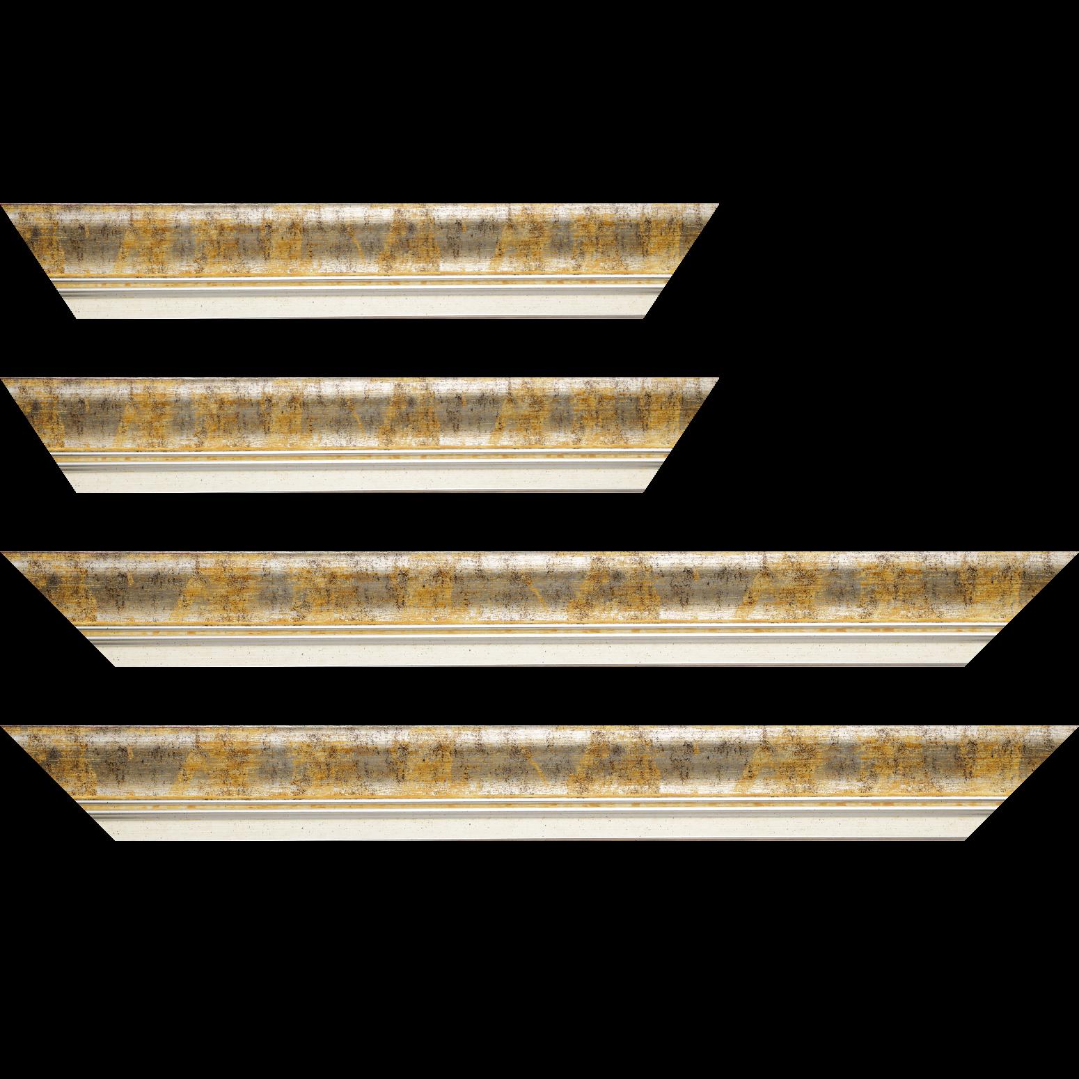 Baguette service précoupé Bois profil incurvé largeur 5.7cm de couleur jaune fond argent marie louise blanche mouchetée filet argent intégré