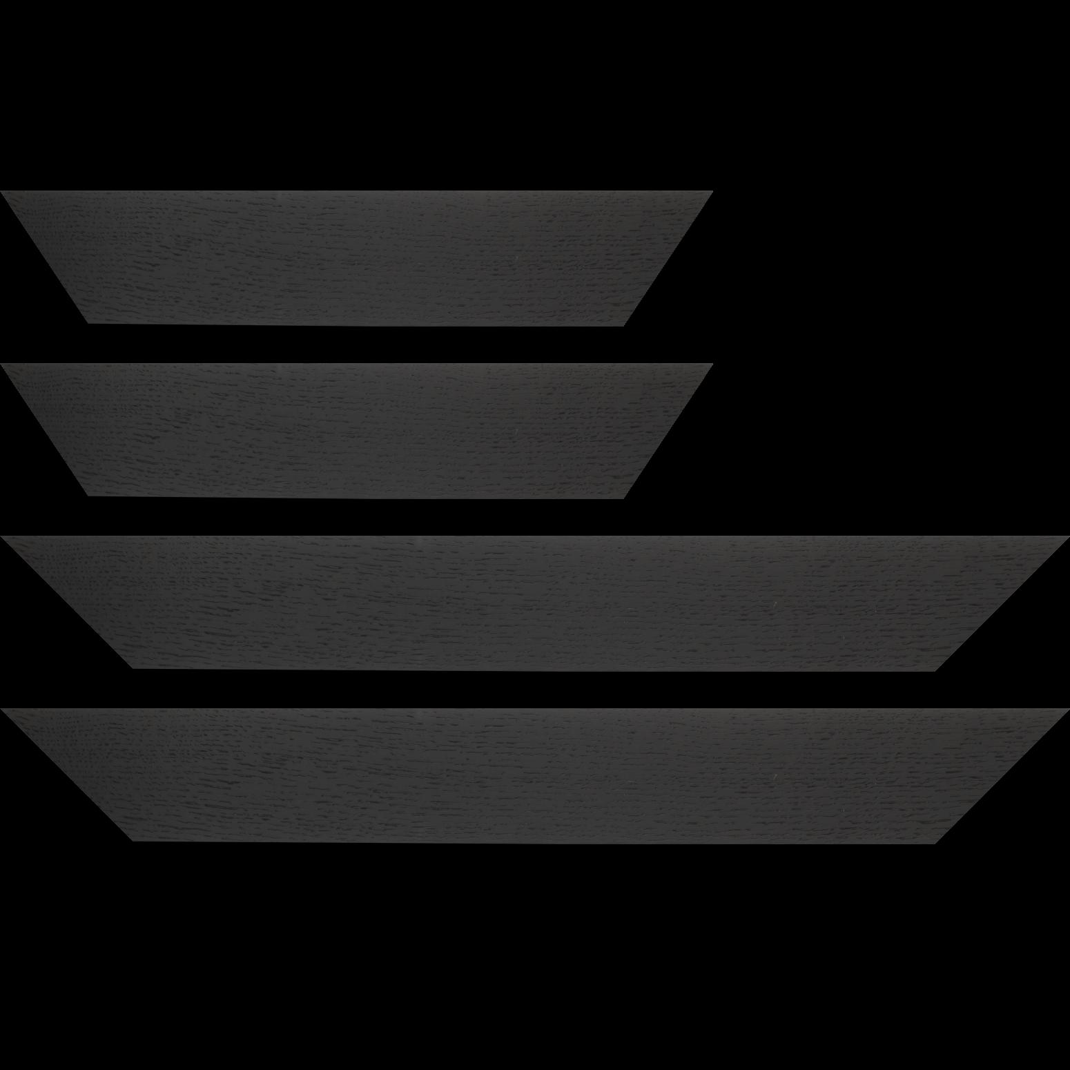 Baguette service précoupé Bois profil plat largeur 6.3cm plaquage haut de gamme chêne teinté noir