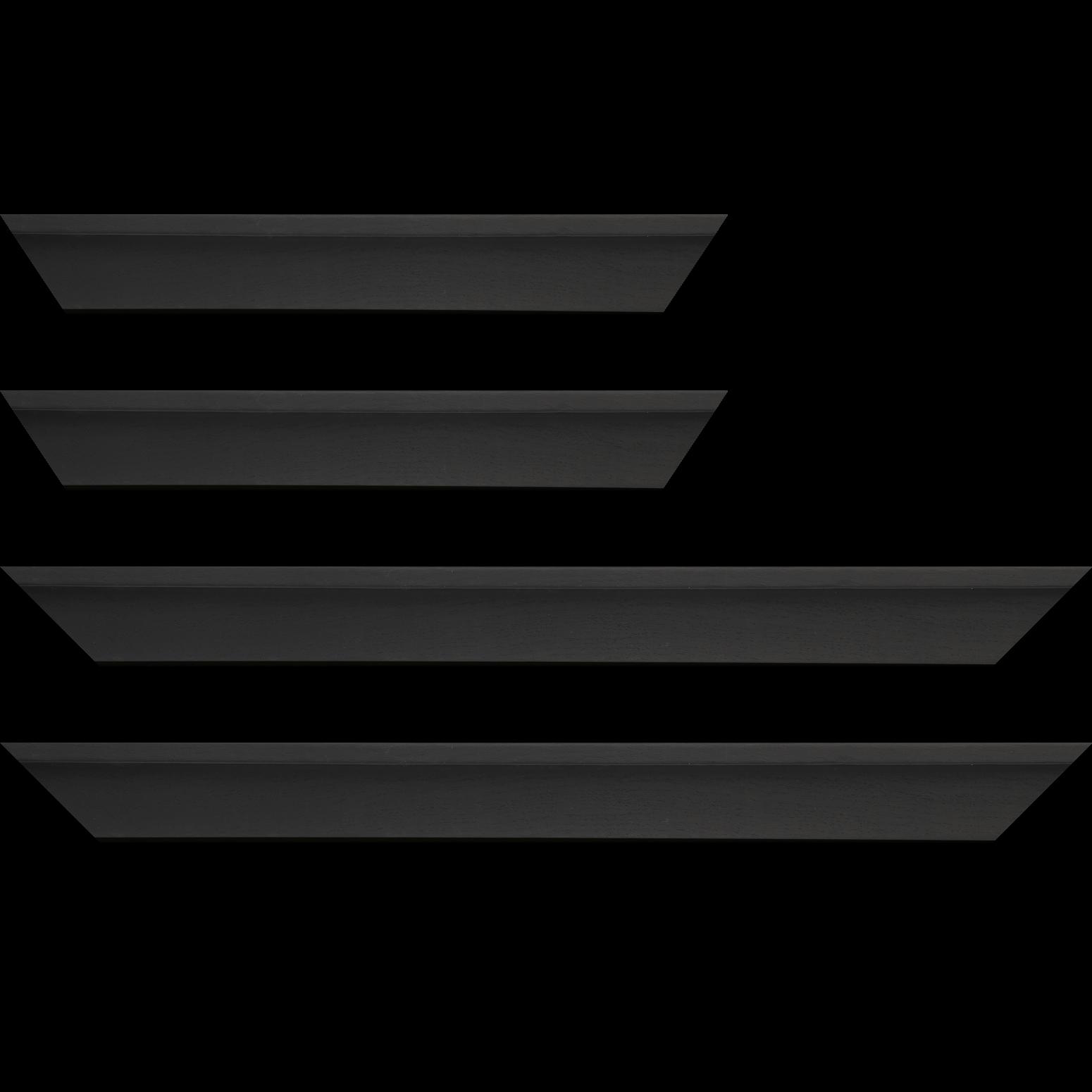 Baguette service précoupé Bois caisse américaine profil en L largeur 4.5cm placage haut de gamme chêne teinté noir (spécialement conçu pour les châssis d'une épaisseur jusqu'à 3.5cm ) information complémentaire : il faut renseigner la dimension précise de votre sujet et l'espace intérieur entre la toile et le cadre sera de 1.5cm