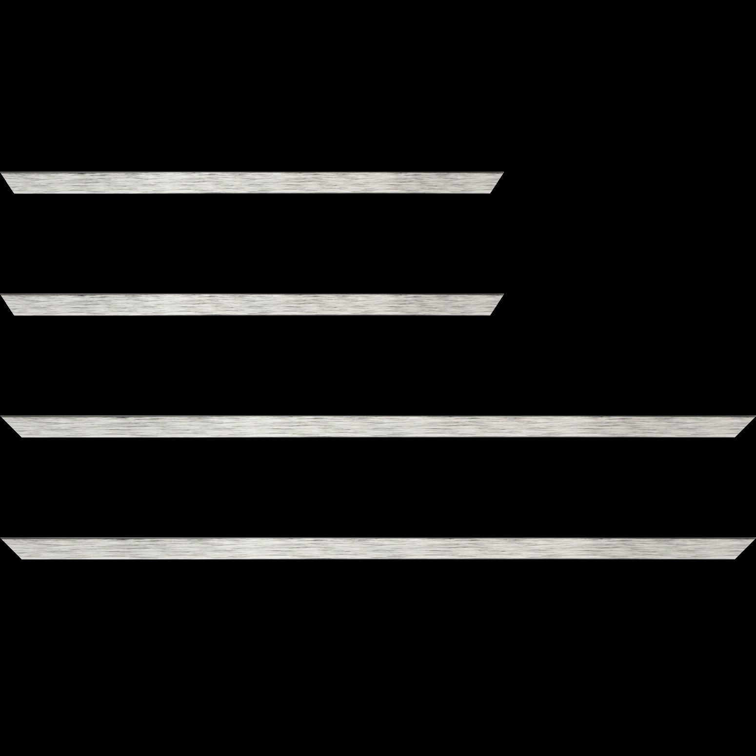 Baguette service précoupé Bois profil plat largeur 1.5cm couleur argent