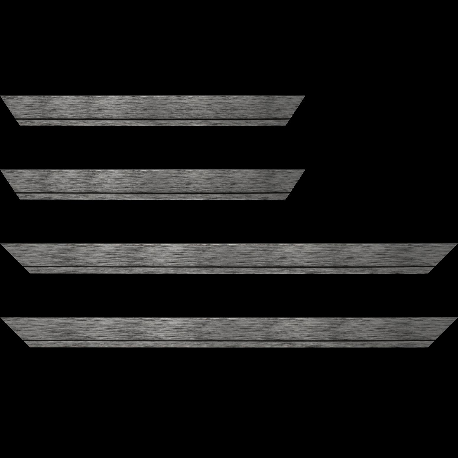 Baguette service précoupé Bois profil plat largeur 3.3cm couleur plomb filet plomb