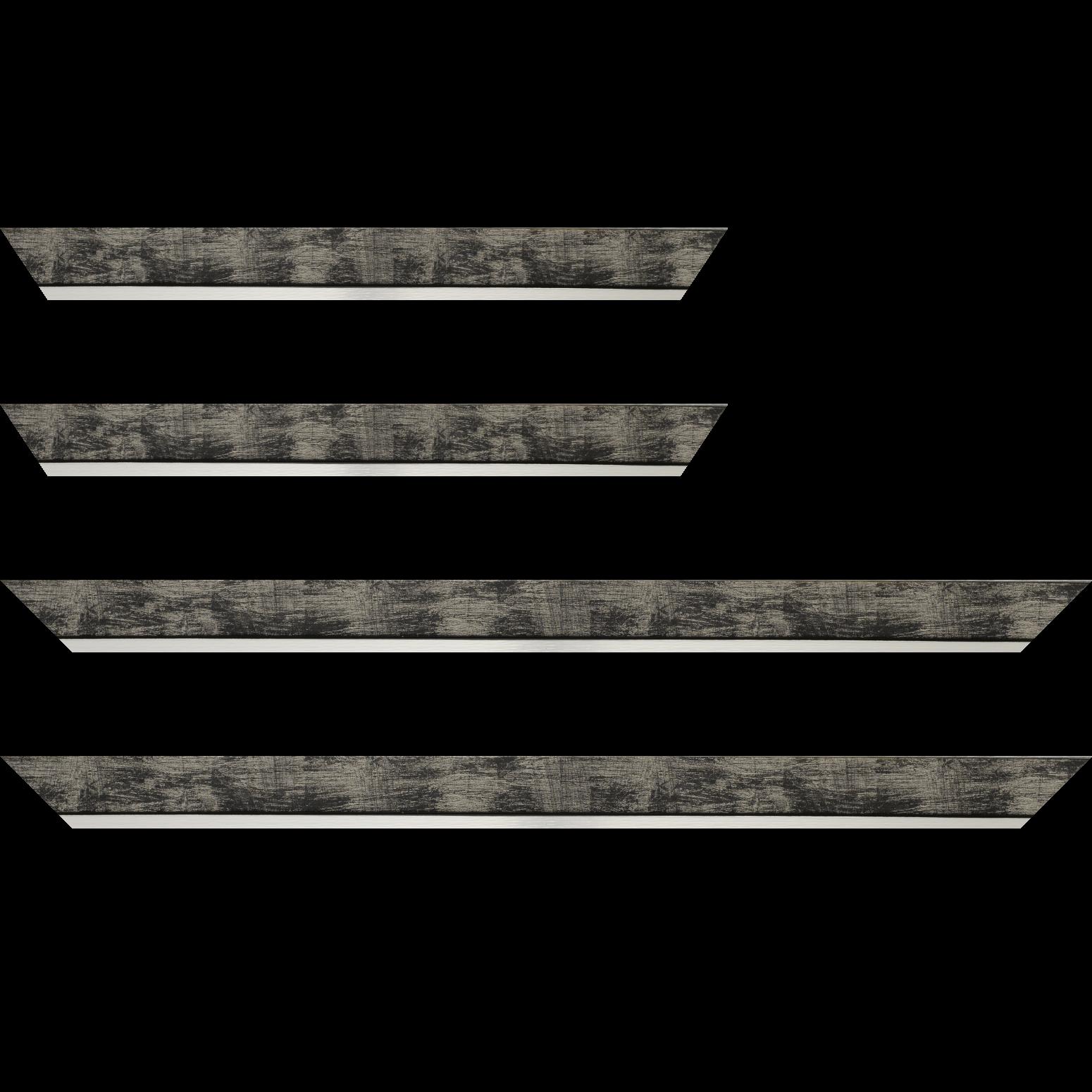 Baguette service précoupé Bois profil plat largeur 3.3cm couleur noir fond argent filet argent