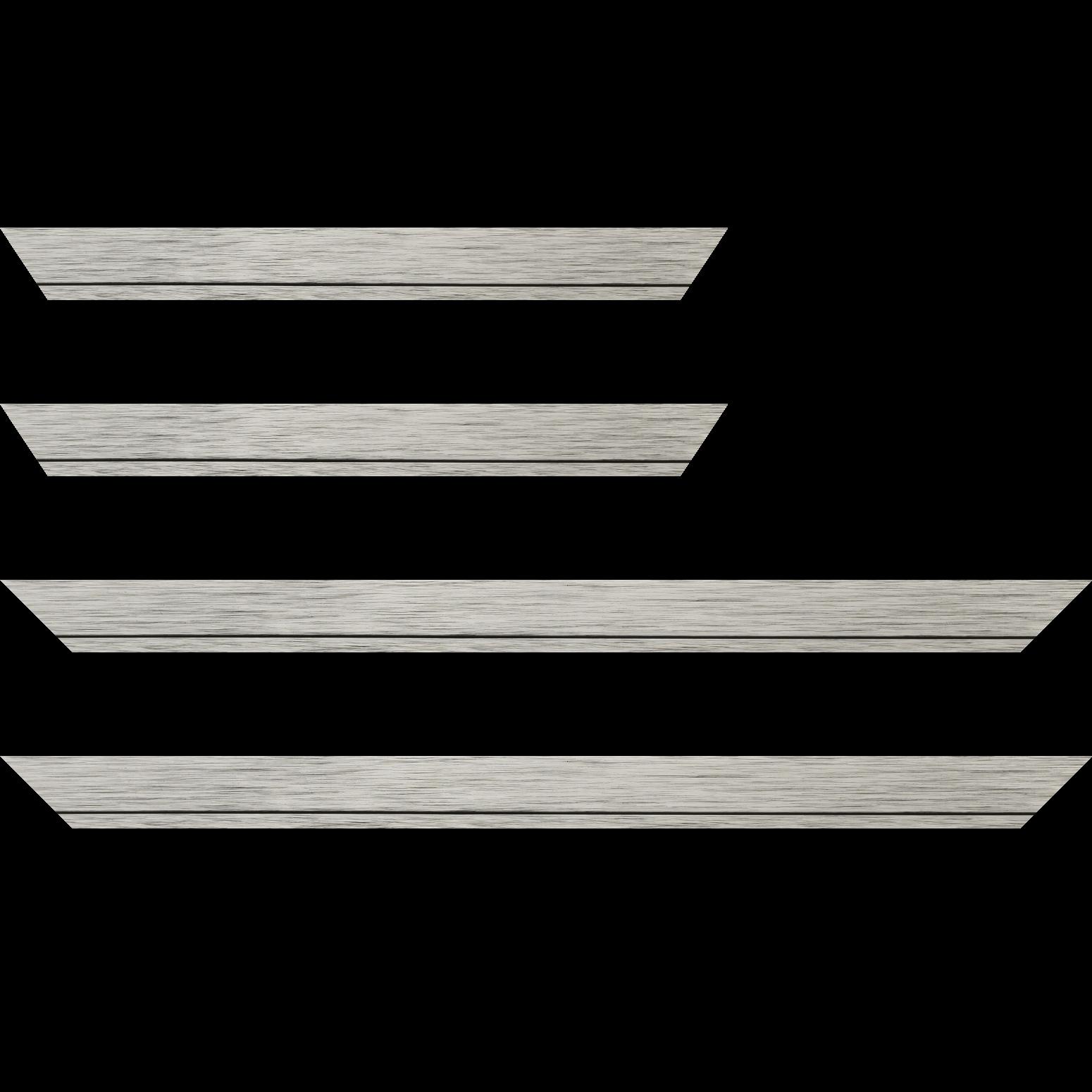 Baguette service précoupé Bois profil plat largeur 3.3cm couleur argent  filet argent