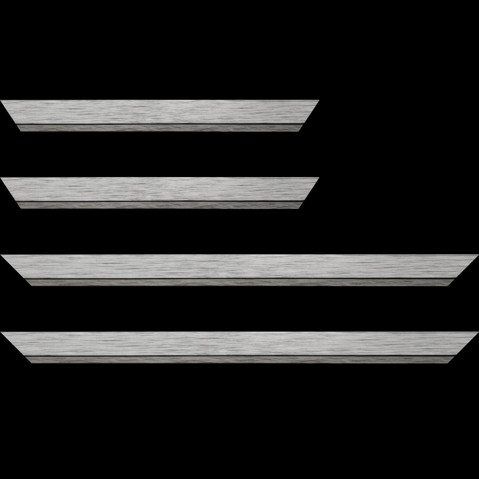 Baguette service précoupé Bois profil plat largeur 3.3cm couleur argent filet plomb