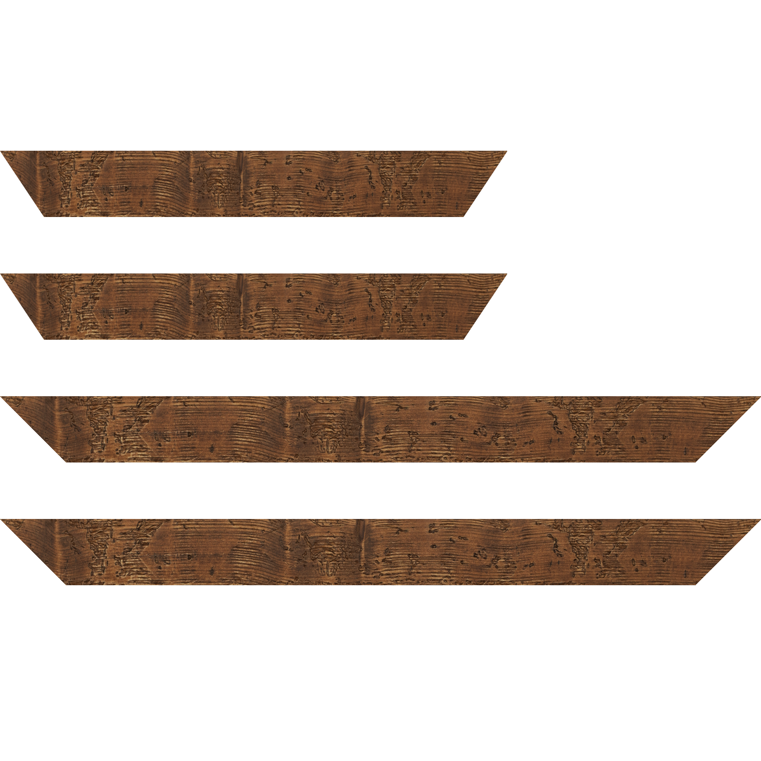 Baguette service précoupé Bois profil plat largeur 4.3cm couleur marron foncé finition aspect vieilli antique