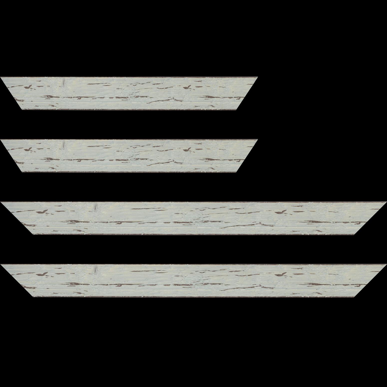 Baguette service précoupé Bois profil plat largeur 4.3cm couleur bleu délavé finition aspect vieilli antique