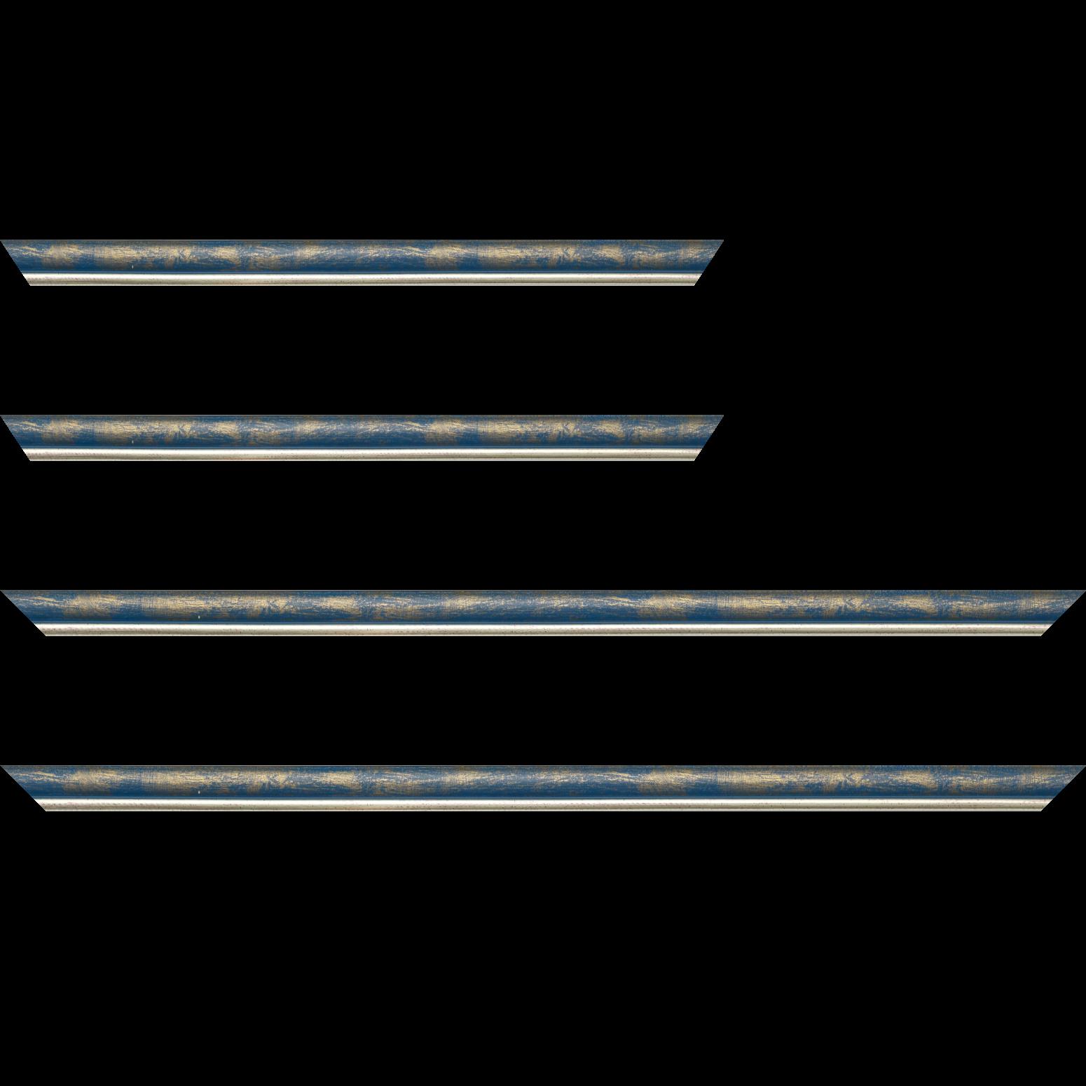 Baguette service précoupé Bois profil arrondi largeur 2.1cm  couleur bleu fond or filet argent chaud