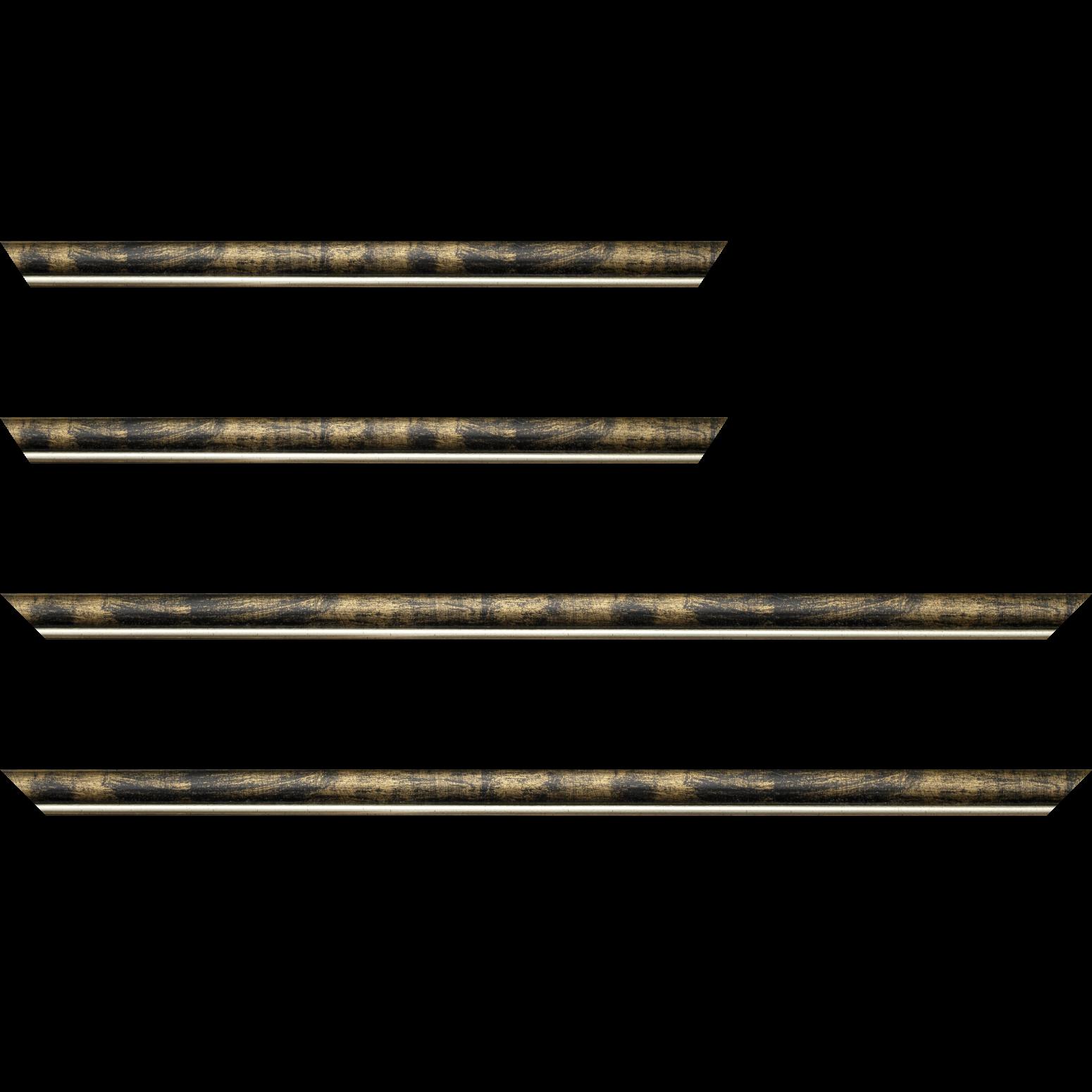 Baguette service précoupé Bois profil arrondi largeur 2.1cm  couleur noir fond or filet argent chaud