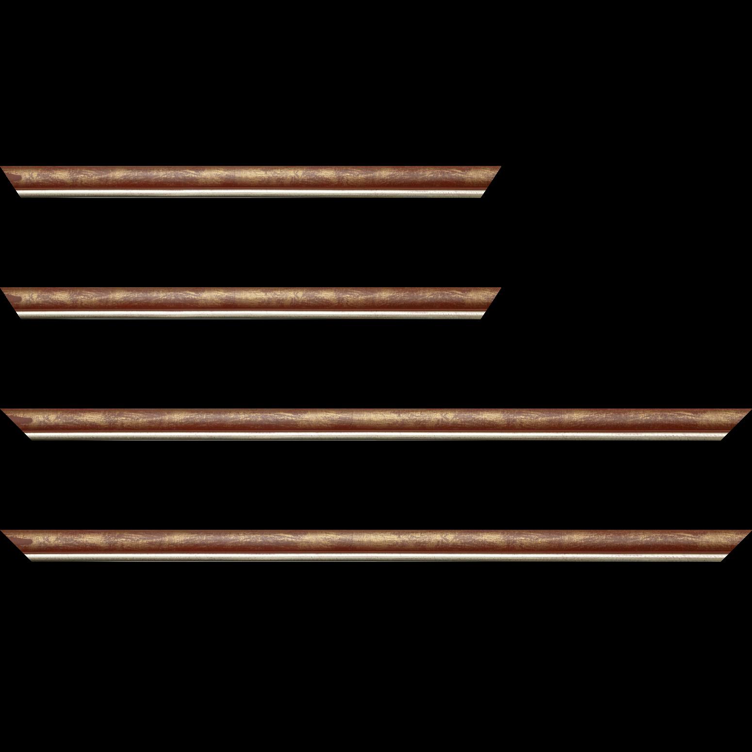 Baguette service précoupé Bois profil arrondi largeur 2.1cm  couleur bordeaux fond or filet argent chaud