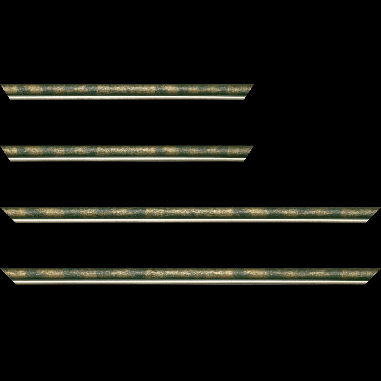 Baguette service précoupé Bois profil arrondi largeur 2.1cm  couleur vert fond or filet argent chaud