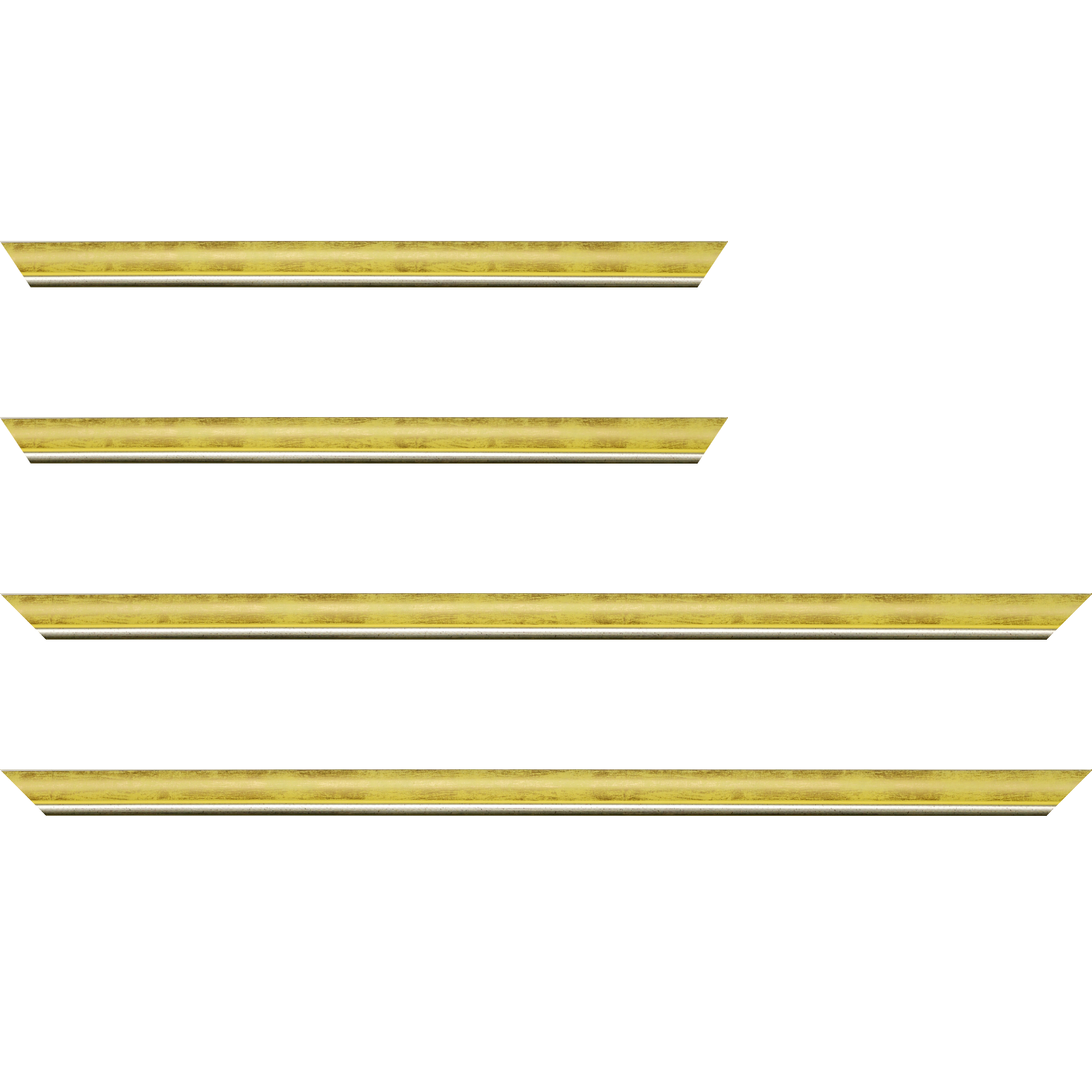 Baguette service précoupé Bois profil arrondi largeur 2.1cm  couleur  jaune fond or filet argent chaud