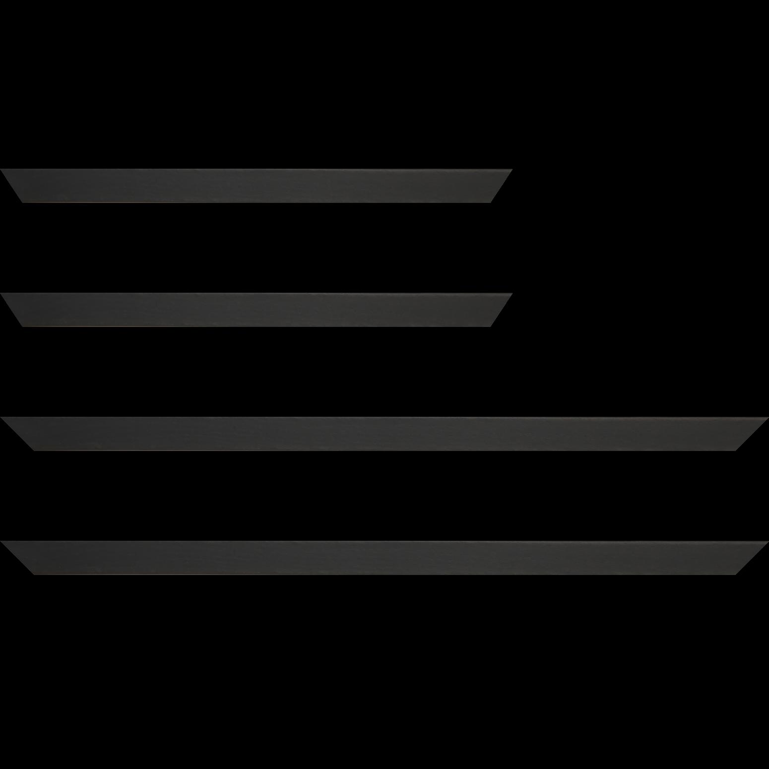 Baguette service précoupé Bois profil plat largeur 2.5cm plaquage haut de gamme chêne teinté noir