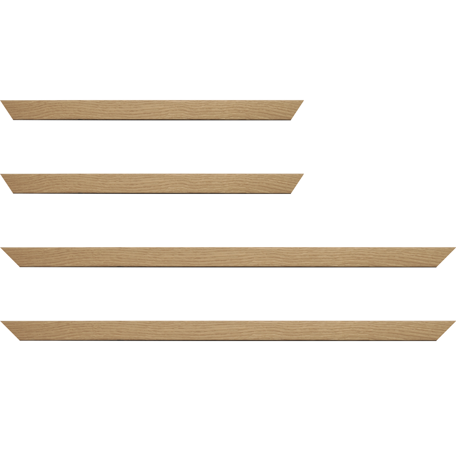 Baguette service précoupé Bois profil plat largeur 2.1cm hauteur 3.1cm plaquage haut de gamme chêne naturel