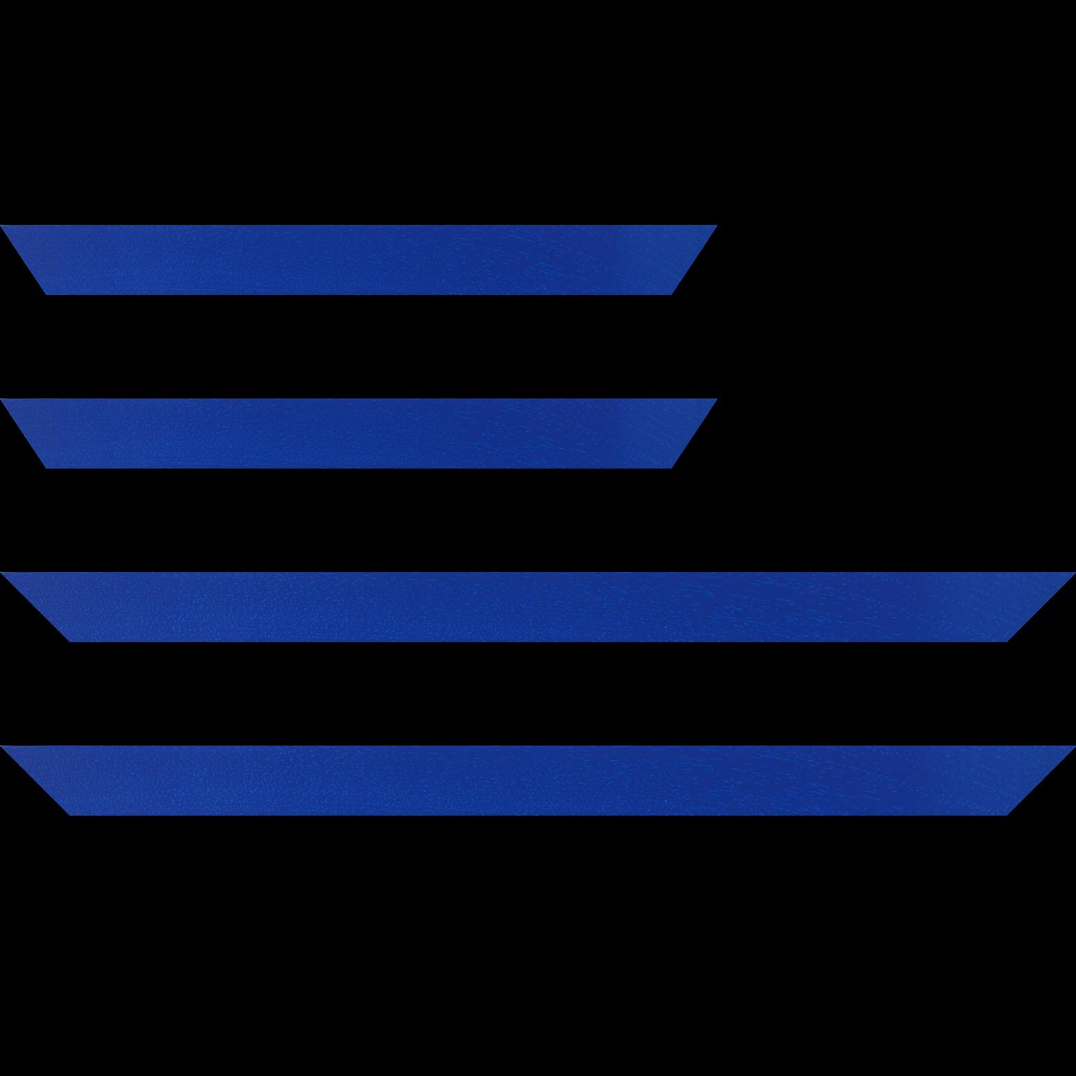 Baguette service précoupé Bois profil plat largeur 3cm couleur bleu grec satiné
