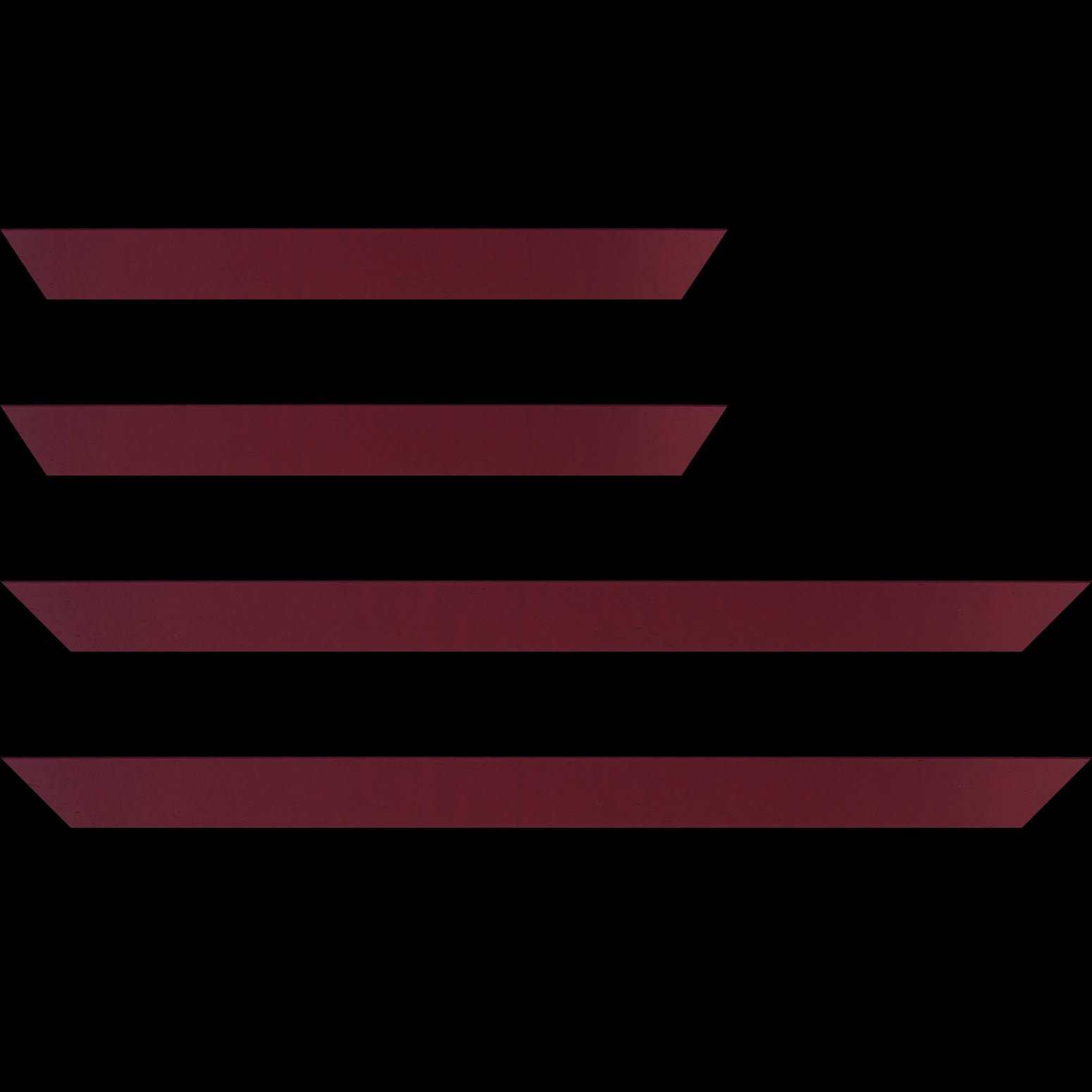 Baguette service précoupé Bois profil plat largeur 3cm couleur bordeaux satiné