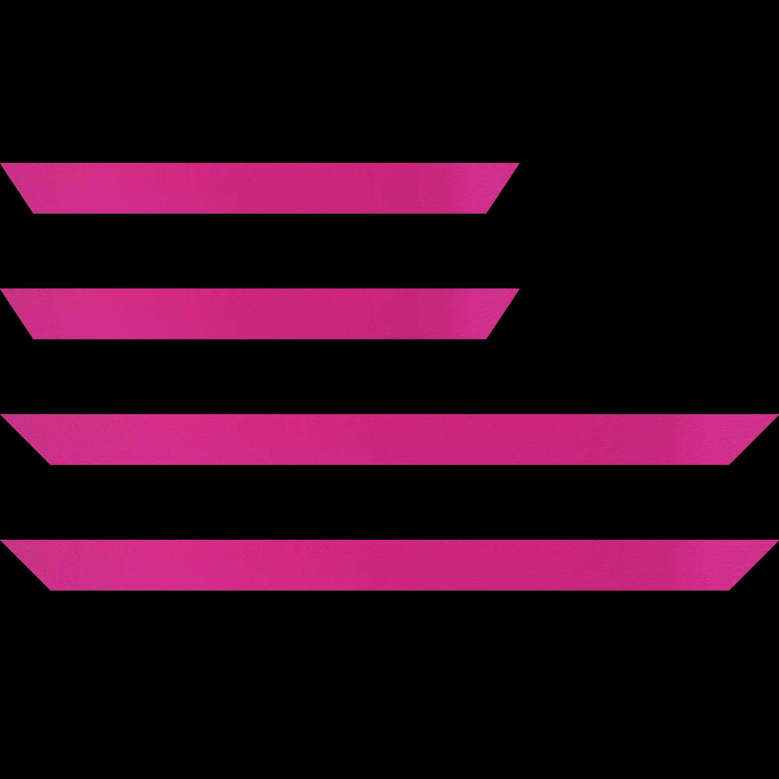 Baguette service précoupé Bois profil plat largeur 3cm couleur rose fushia satiné