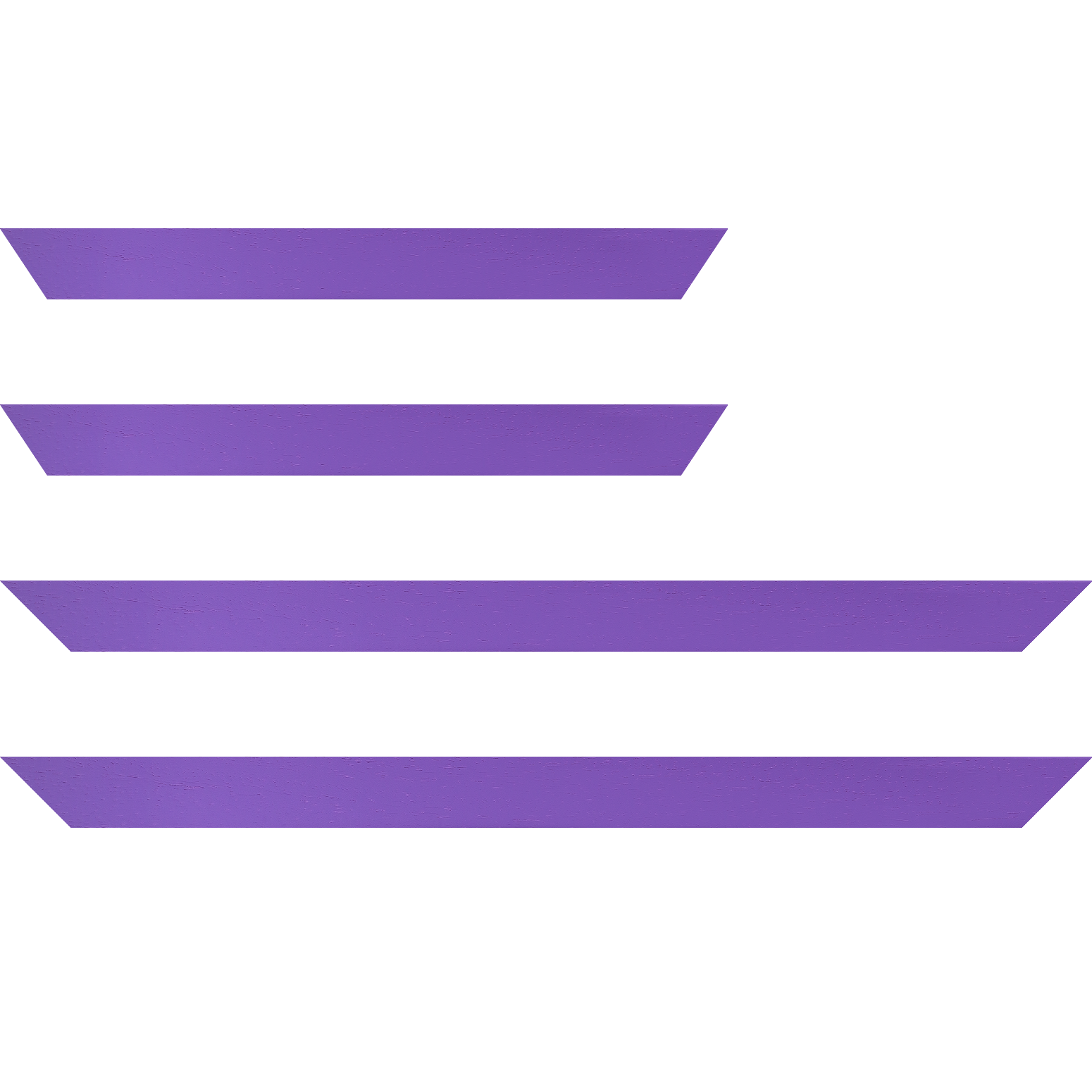 Baguette service précoupé Bois profil plat largeur 3cm couleur violet satiné