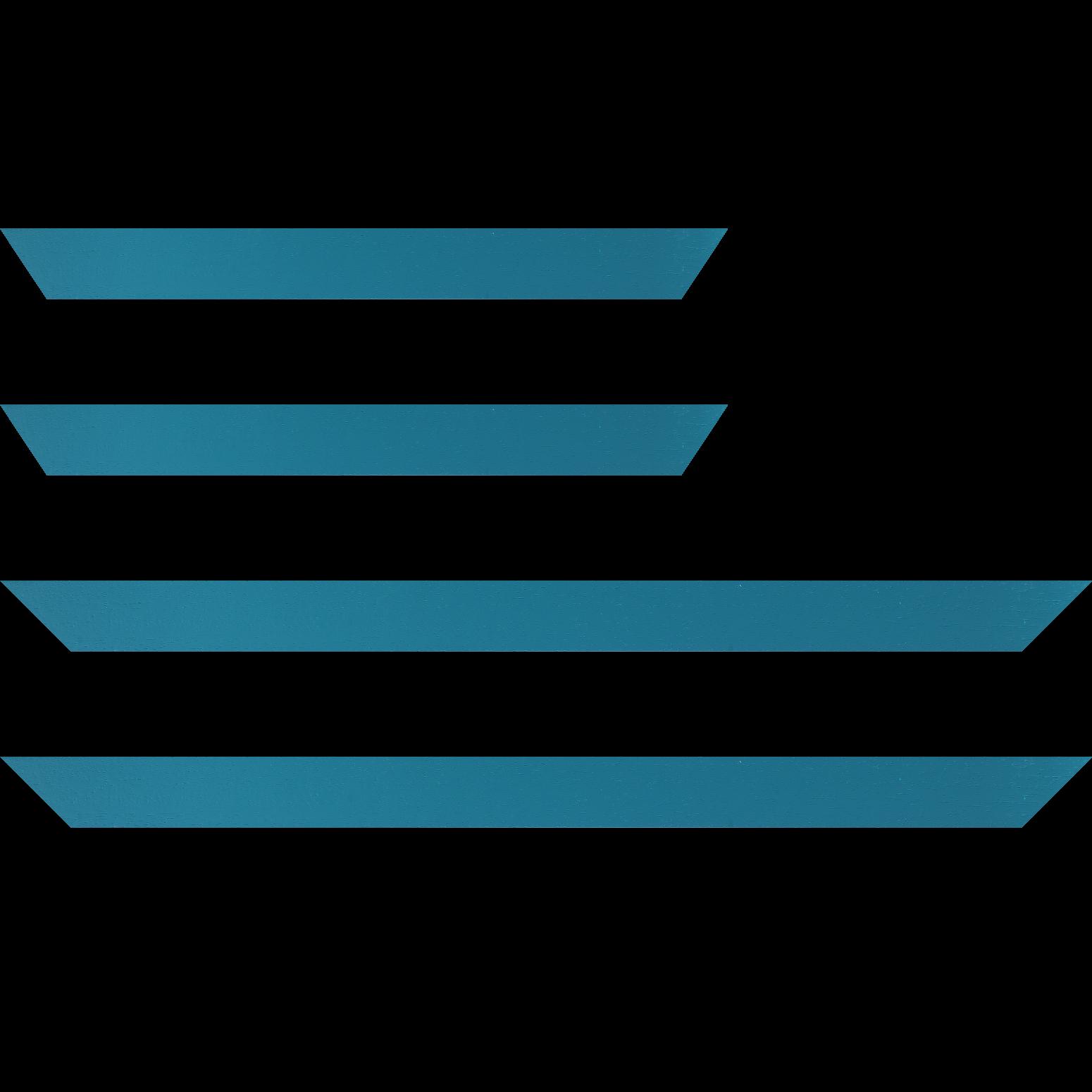 Baguette service précoupé Bois profil plat largeur 3cm couleur bleu turquoise satiné