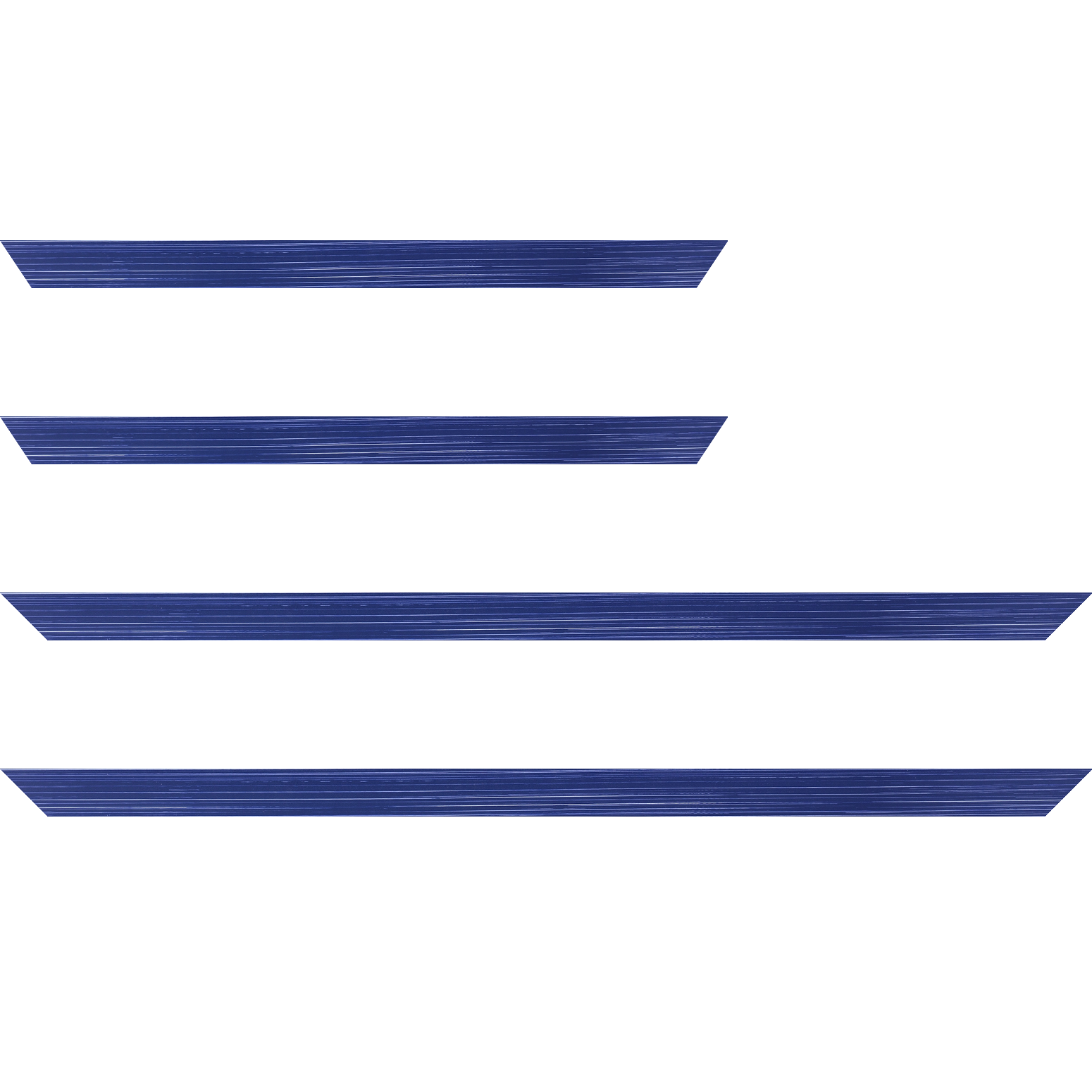 Baguette service précoupé Bois profil concave largeur 2.4cm couleur bleu foncé effet matière fond blanc