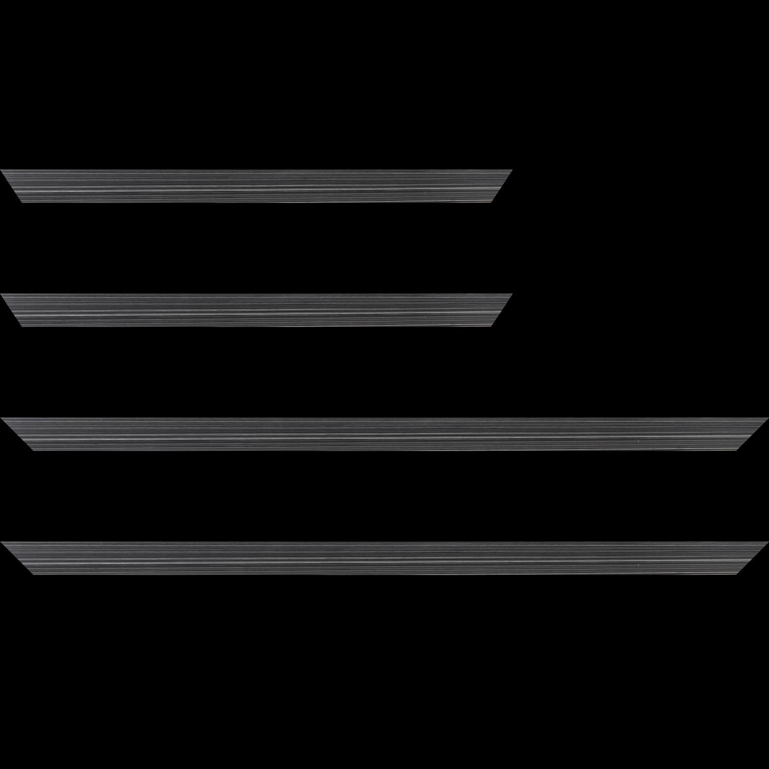 Baguette service précoupé Bois profil concave largeur 2.4cm couleur noir anthracite effet matière fond blanc