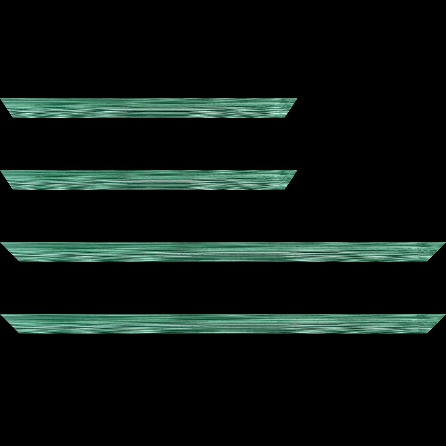Baguette service précoupé Bois profil concave largeur 2.4cm couleur vert tropical effet matière fond blanc