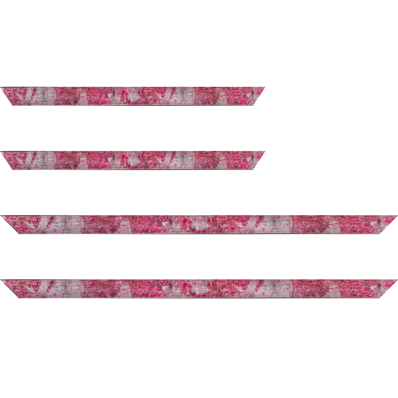 Baguette service précoupé Bois profil concave largeur 2.4cm de couleur fushia moucheté fond argent