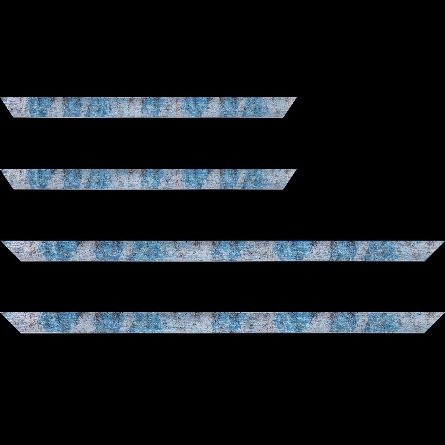 Baguette service précoupé Bois profil concave largeur 2.4cm de couleur bleu moucheté fond argent